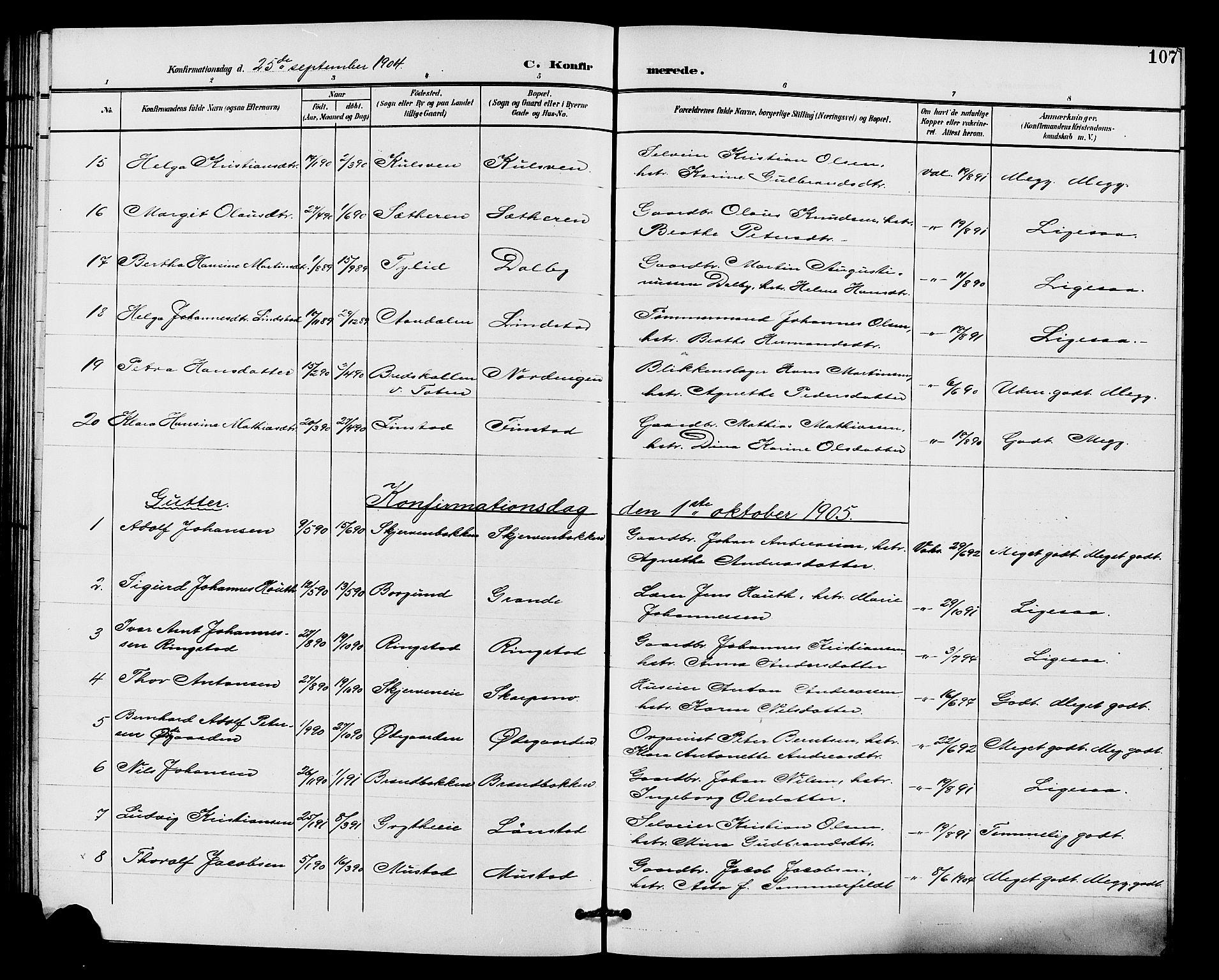 SAH, Vardal prestekontor, H/Ha/Hab/L0011: Klokkerbok nr. 11, 1899-1913, s. 107