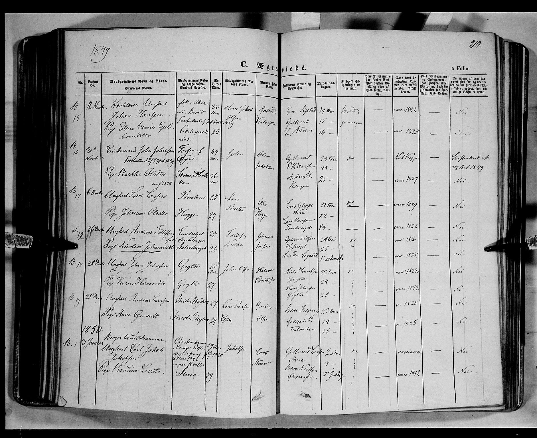 SAH, Biri prestekontor, Ministerialbok nr. 5, 1843-1854, s. 210