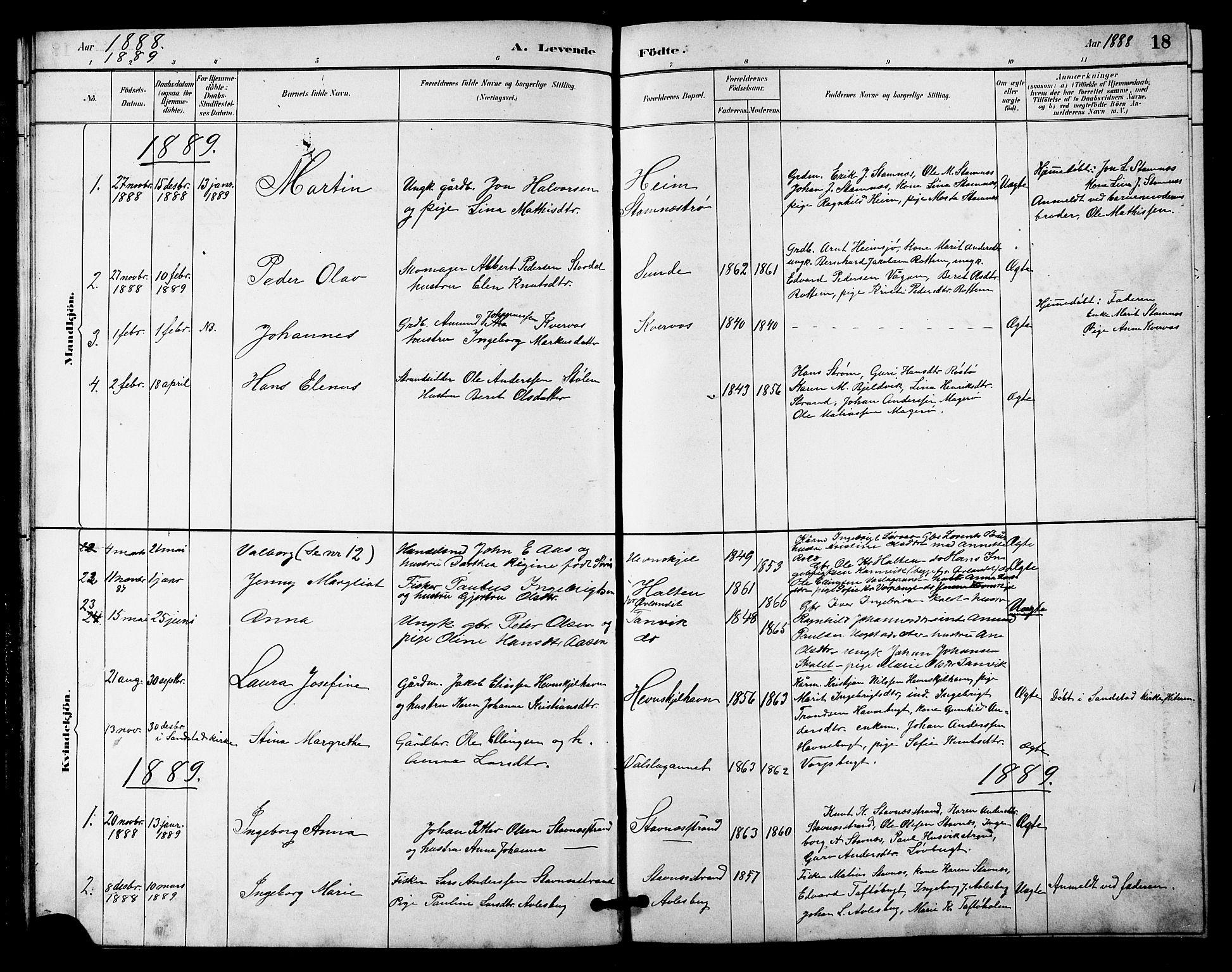 SAT, Ministerialprotokoller, klokkerbøker og fødselsregistre - Sør-Trøndelag, 633/L0519: Klokkerbok nr. 633C01, 1884-1905, s. 18