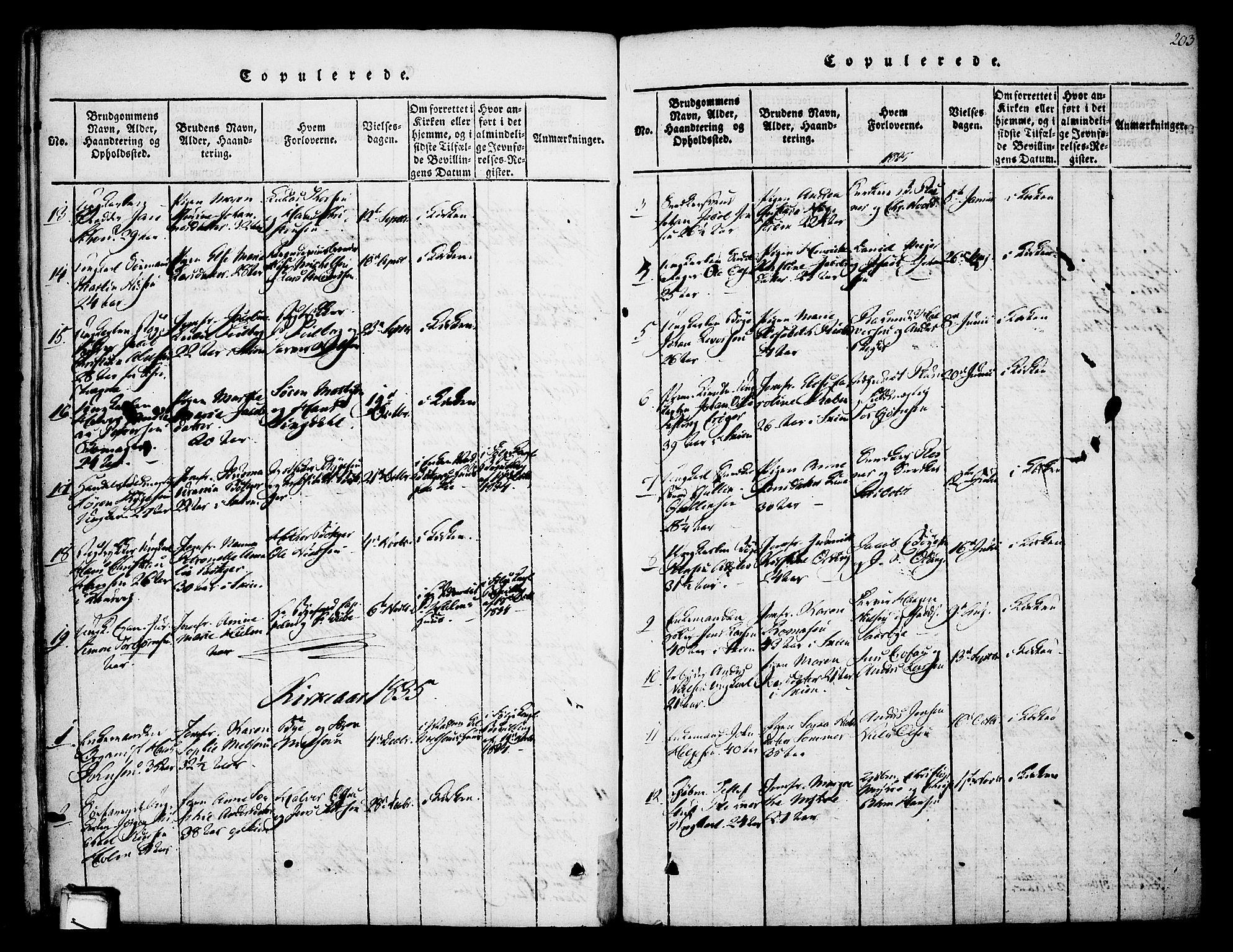 SAKO, Skien kirkebøker, F/Fa/L0005: Ministerialbok nr. 5, 1814-1843, s. 203