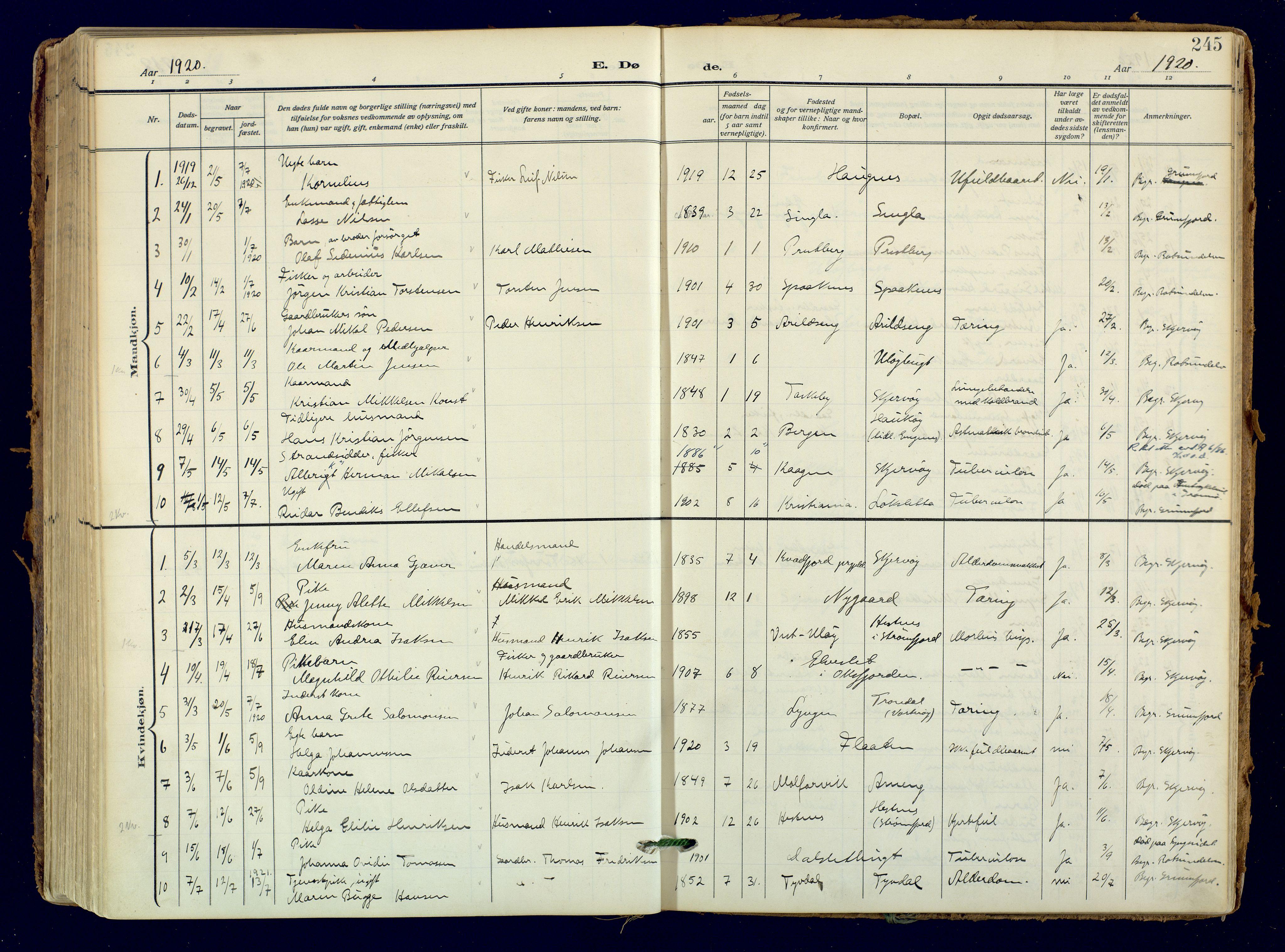 SATØ, Skjervøy sokneprestkontor, H/Ha/Haa: Ministerialbok nr. 18, 1910-1926, s. 245
