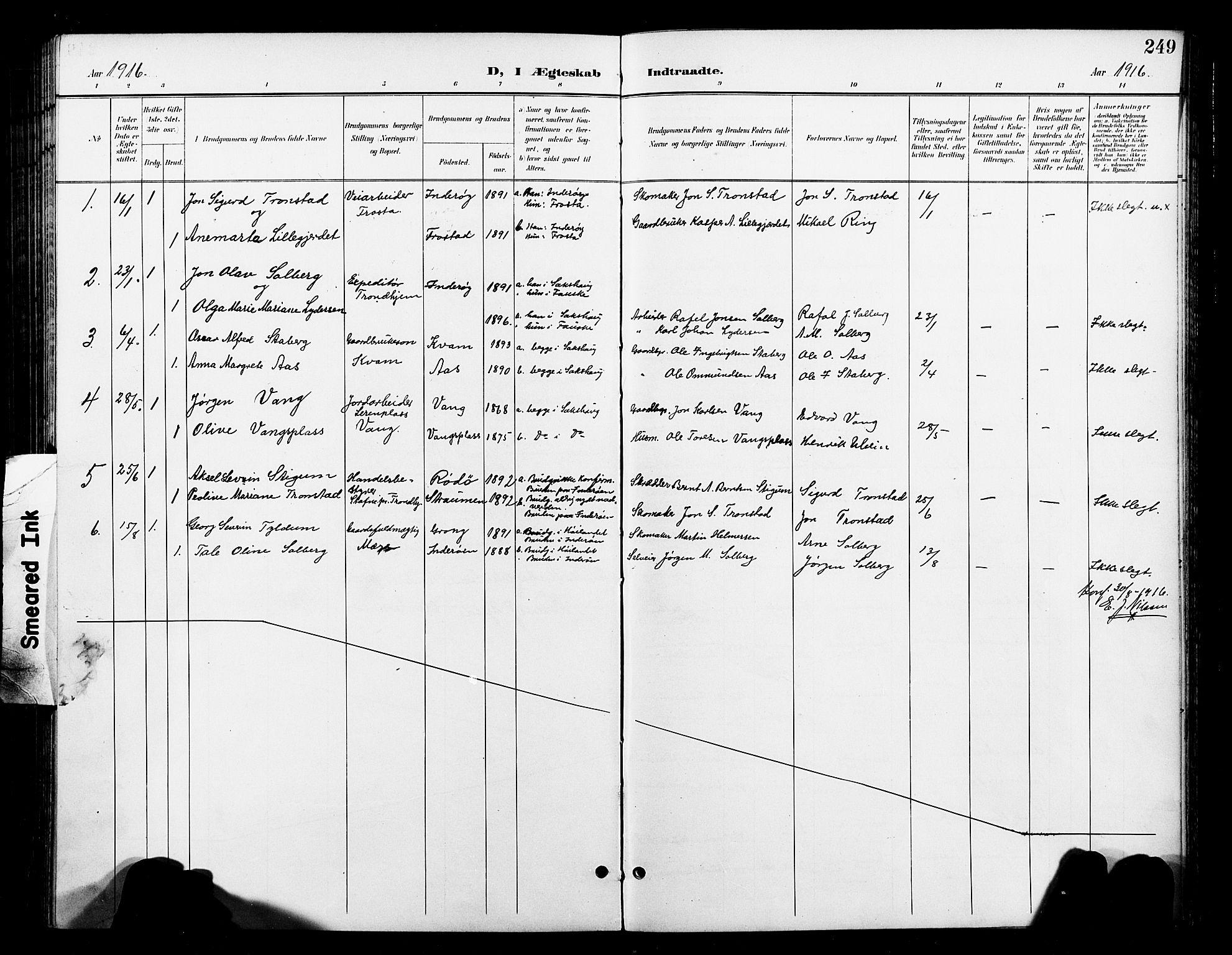 SAT, Ministerialprotokoller, klokkerbøker og fødselsregistre - Nord-Trøndelag, 730/L0302: Klokkerbok nr. 730C05, 1898-1924, s. 249