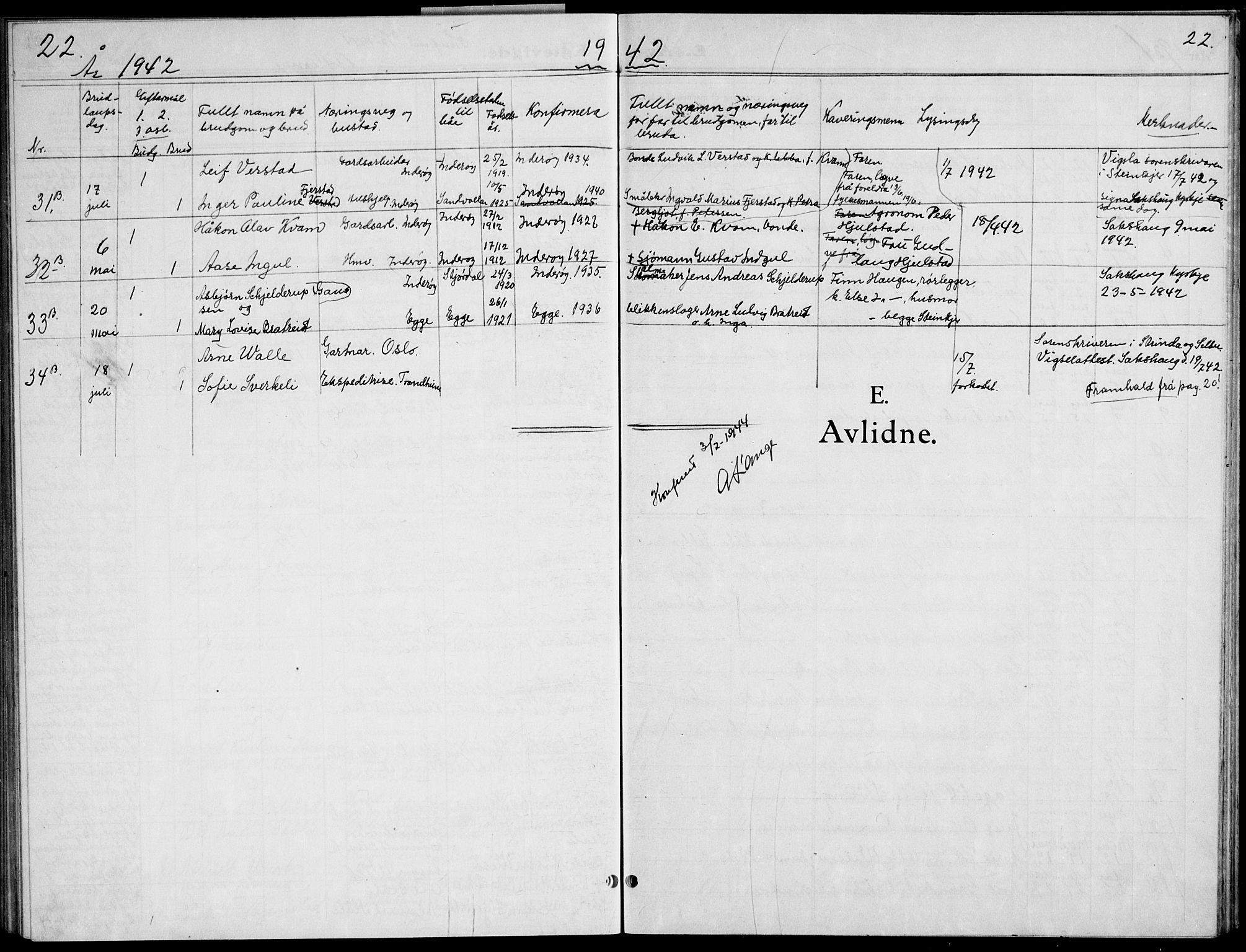 SAT, Ministerialprotokoller, klokkerbøker og fødselsregistre - Nord-Trøndelag, 730/L0304: Klokkerbok nr. 730C07, 1934-1945, s. 22
