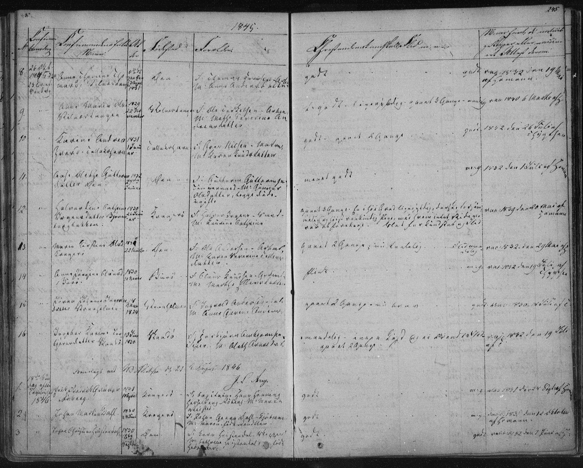 SAKO, Kragerø kirkebøker, F/Fa/L0005: Ministerialbok nr. 5, 1832-1847, s. 245