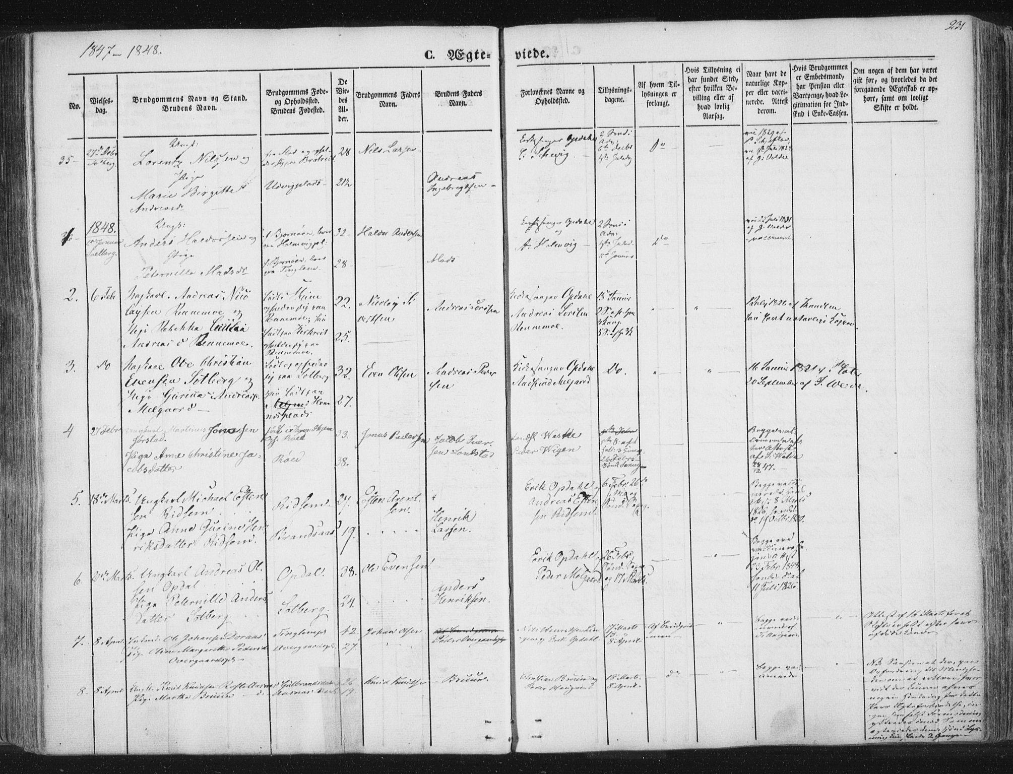 SAT, Ministerialprotokoller, klokkerbøker og fødselsregistre - Nord-Trøndelag, 741/L0392: Ministerialbok nr. 741A06, 1836-1848, s. 231