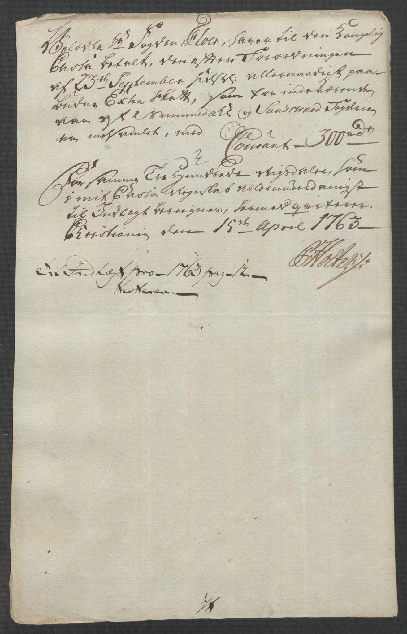 RA, Rentekammeret inntil 1814, Reviderte regnskaper, Fogderegnskap, R24/L1672: Ekstraskatten Numedal og Sandsvær, 1762-1767, s. 158