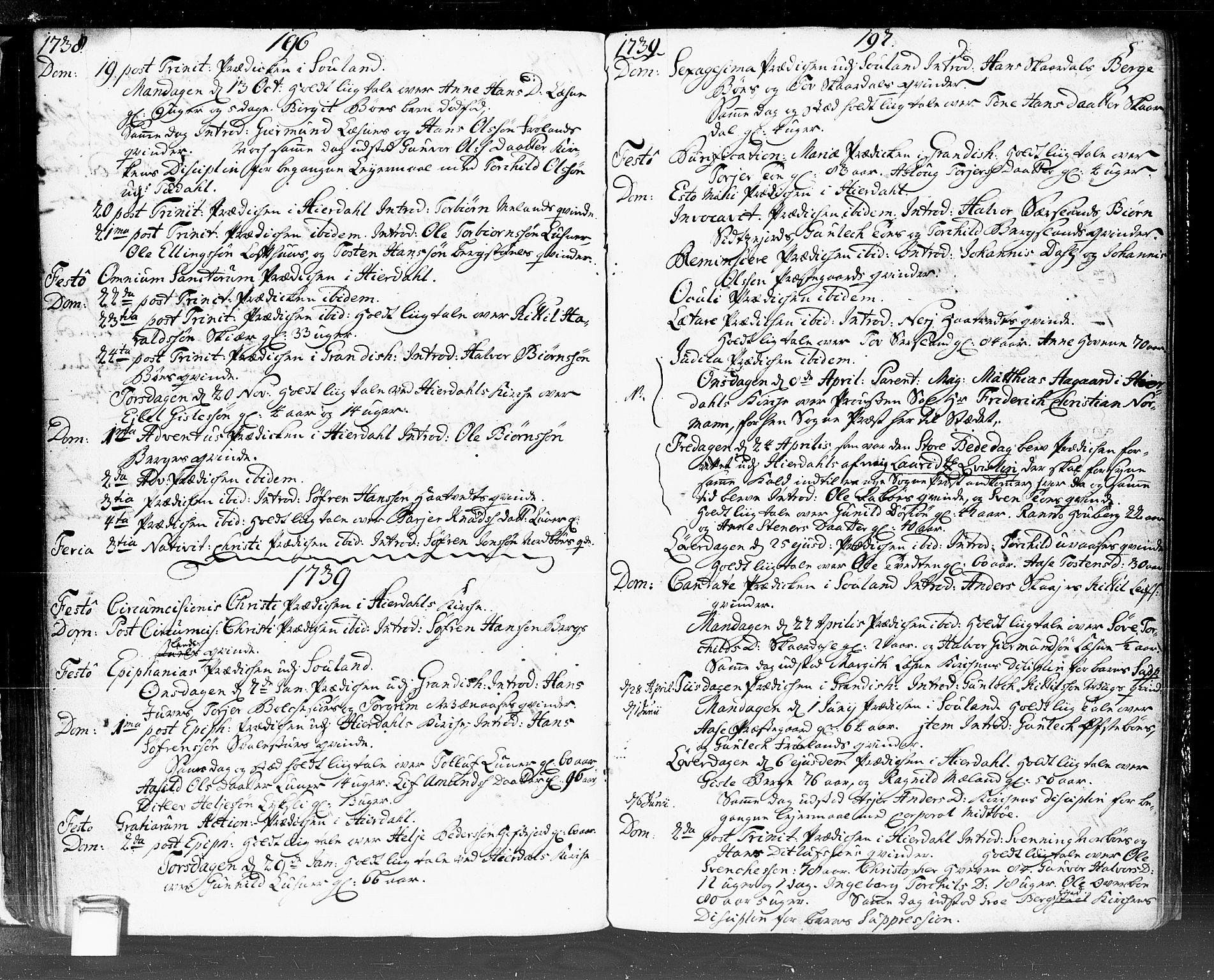 SAKO, Hjartdal kirkebøker, F/Fa/L0002: Ministerialbok nr. I 2, 1716-1754, s. 196-197