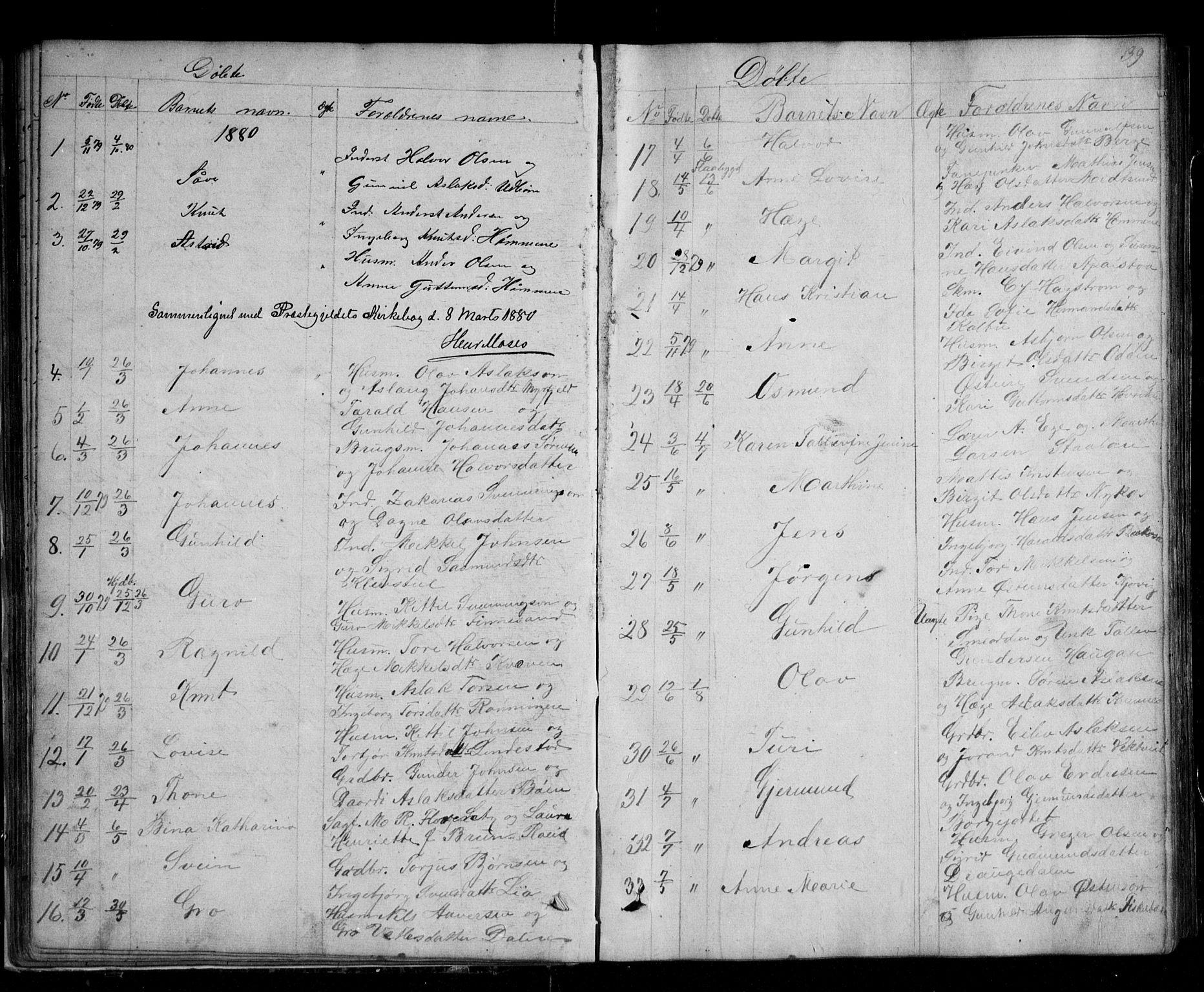 SAKO, Kviteseid kirkebøker, G/Ga/L0001: Klokkerbok nr. I 1, 1850-1893, s. 39