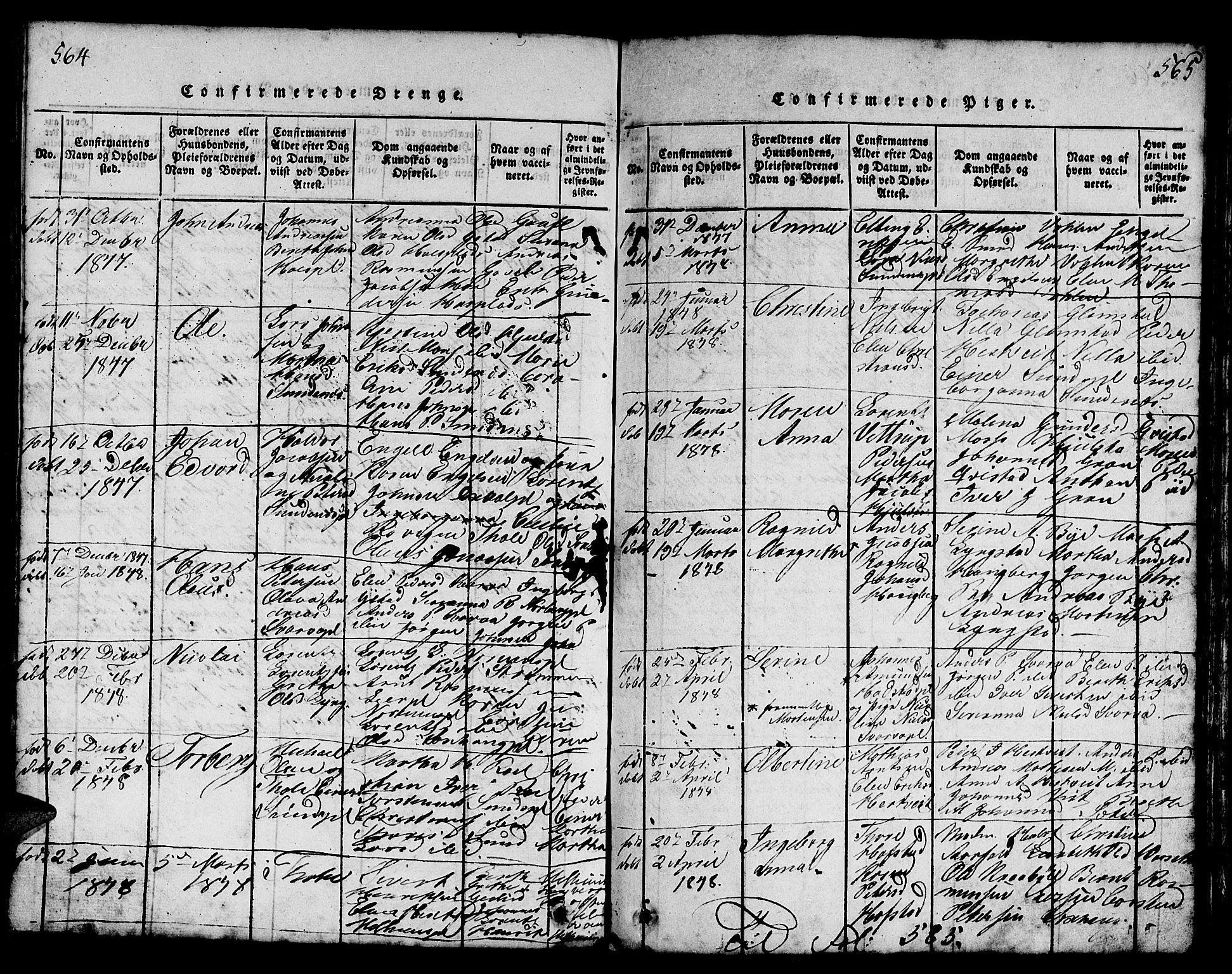SAT, Ministerialprotokoller, klokkerbøker og fødselsregistre - Nord-Trøndelag, 730/L0298: Klokkerbok nr. 730C01, 1816-1849, s. 564-565