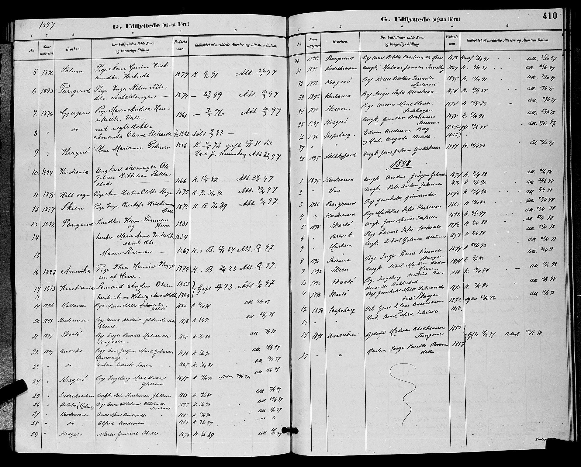 SAKO, Bamble kirkebøker, G/Ga/L0009: Klokkerbok nr. I 9, 1888-1900, s. 410