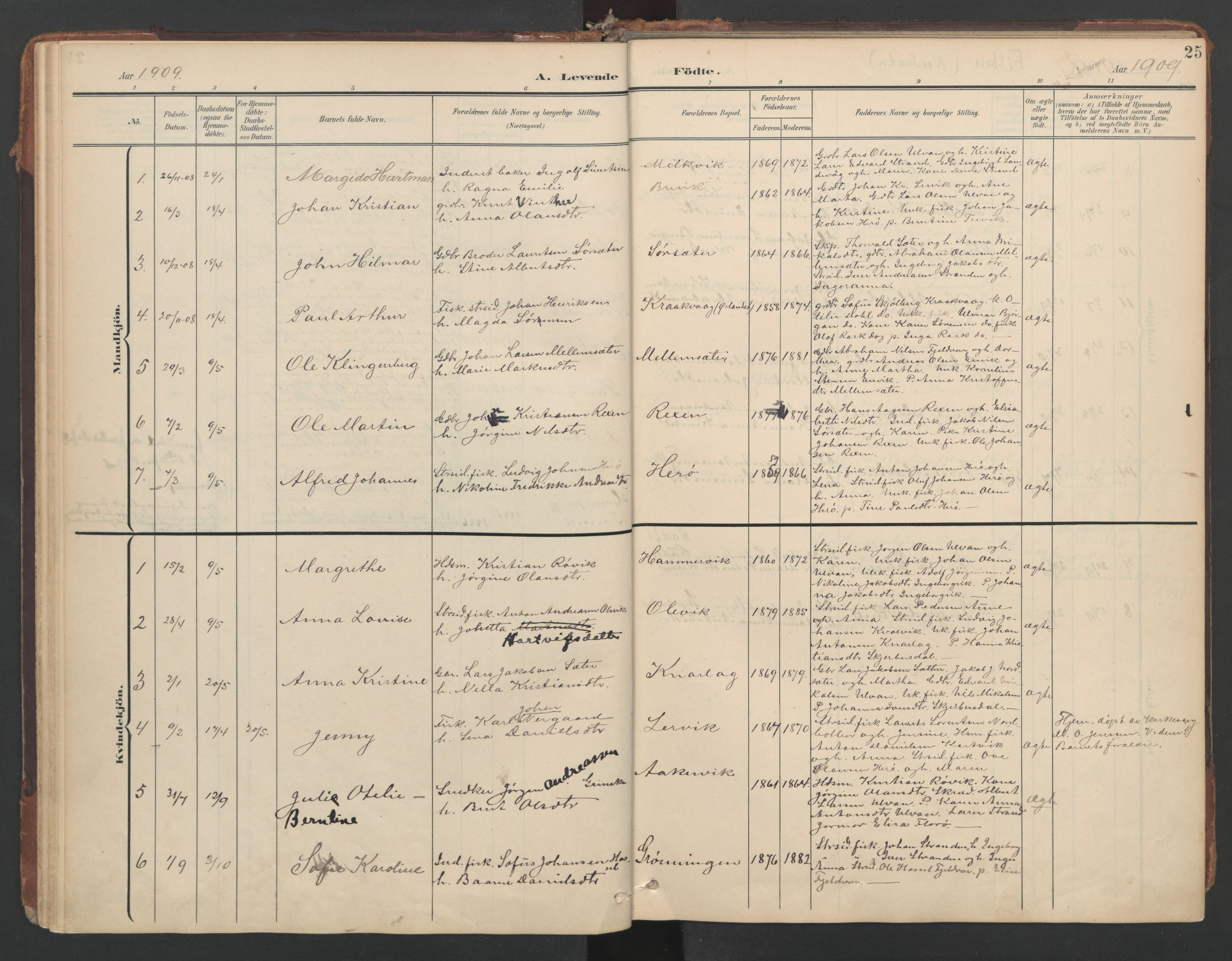 SAT, Ministerialprotokoller, klokkerbøker og fødselsregistre - Sør-Trøndelag, 638/L0568: Ministerialbok nr. 638A01, 1901-1916, s. 25