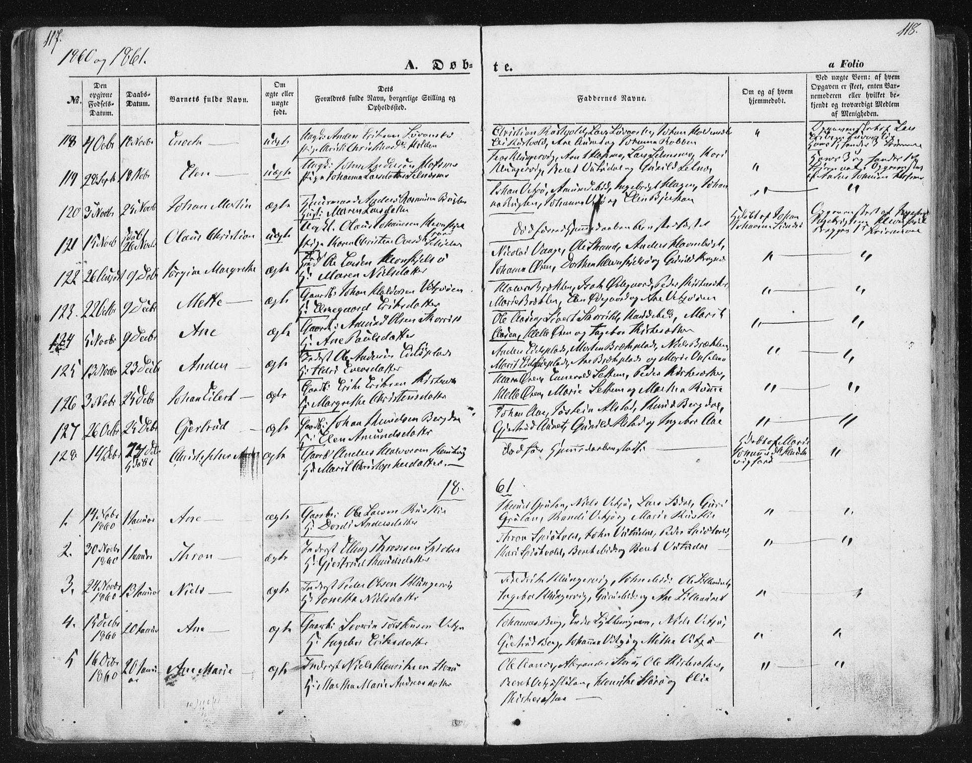 SAT, Ministerialprotokoller, klokkerbøker og fødselsregistre - Sør-Trøndelag, 630/L0494: Ministerialbok nr. 630A07, 1852-1868, s. 117-118