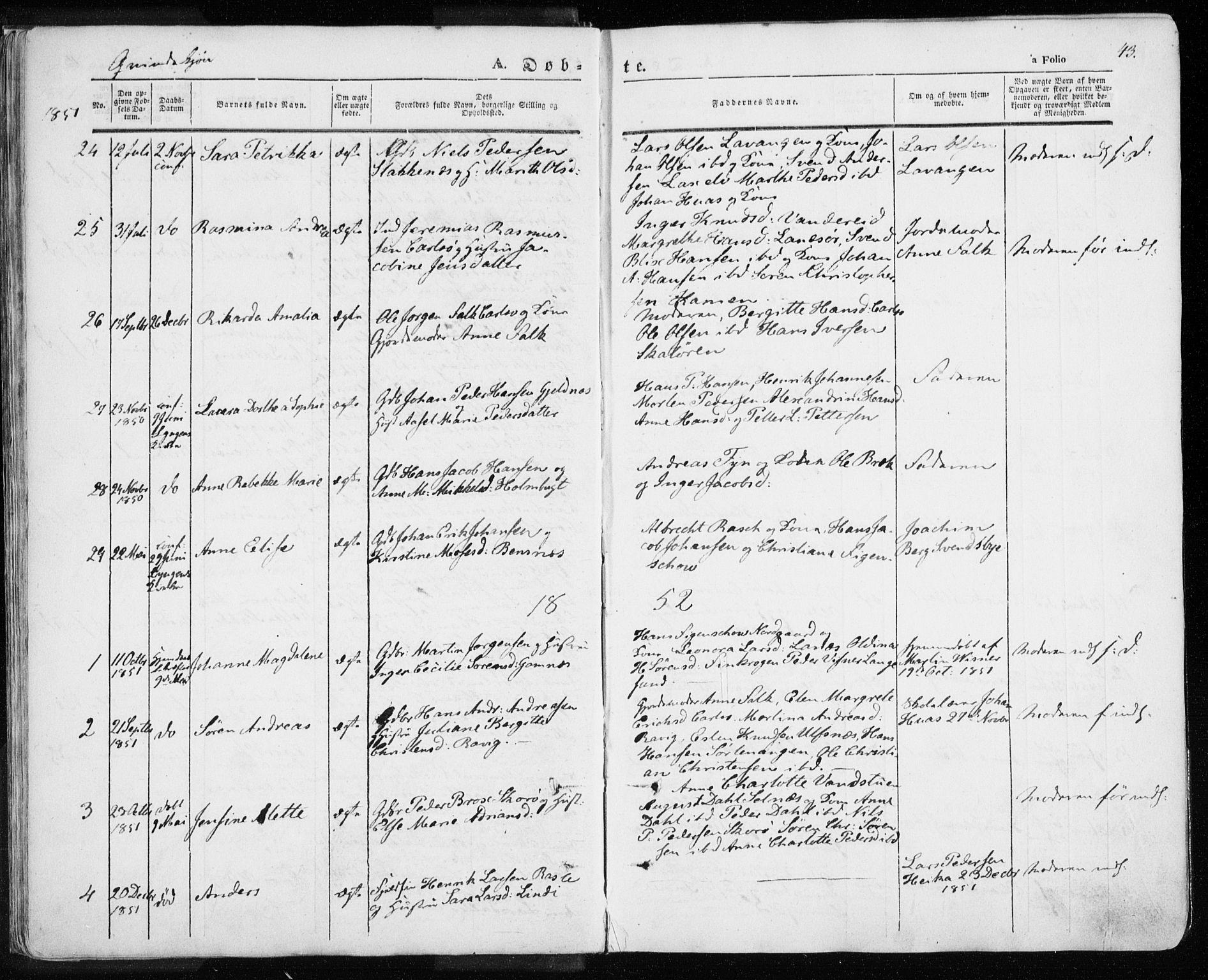 SATØ, Karlsøy sokneprestembete, H/Ha/Haa/L0003kirke: Ministerialbok nr. 3, 1843-1860, s. 43