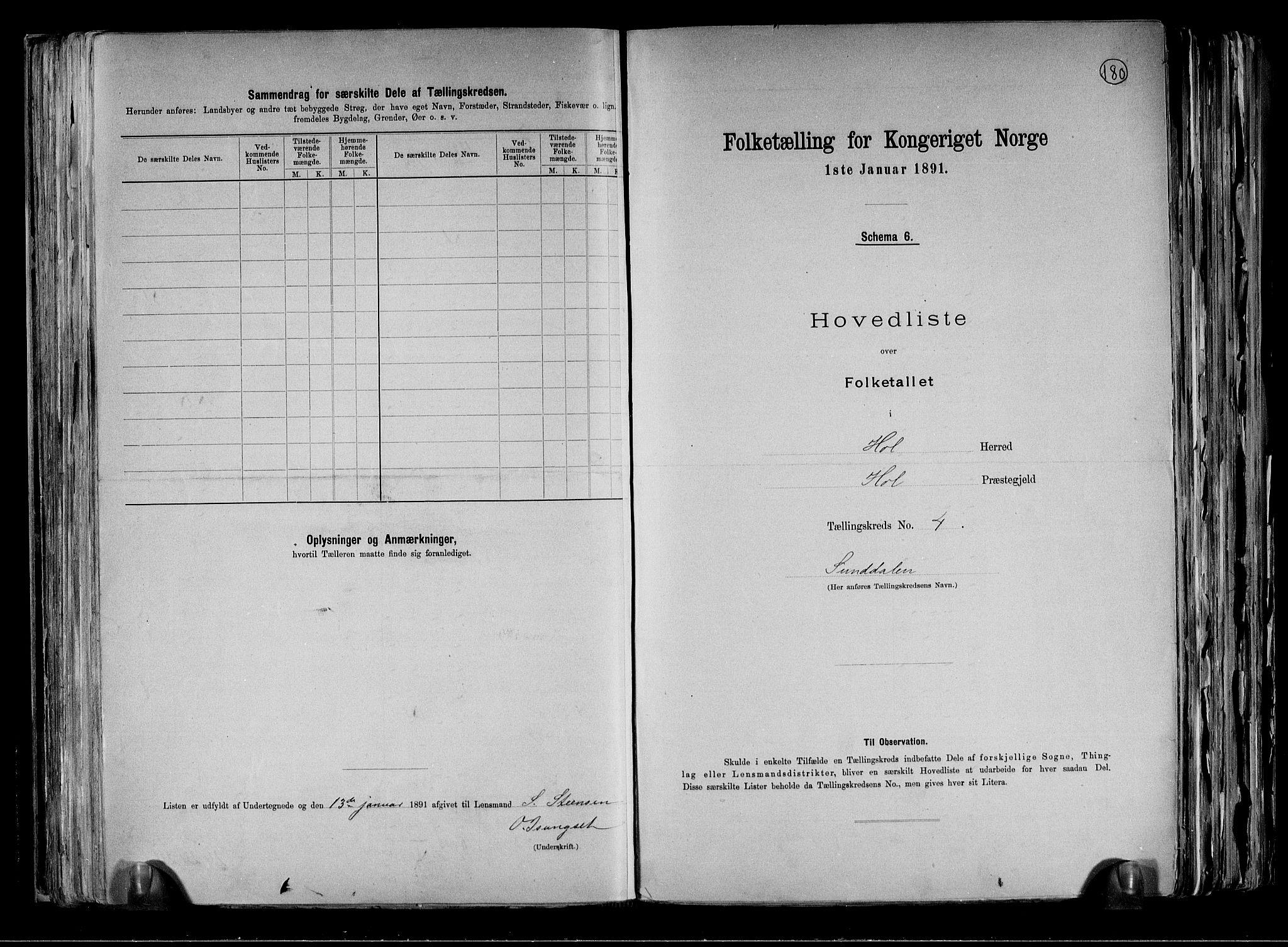 RA, Folketelling 1891 for 0620 Hol herred, 1891, s. 13