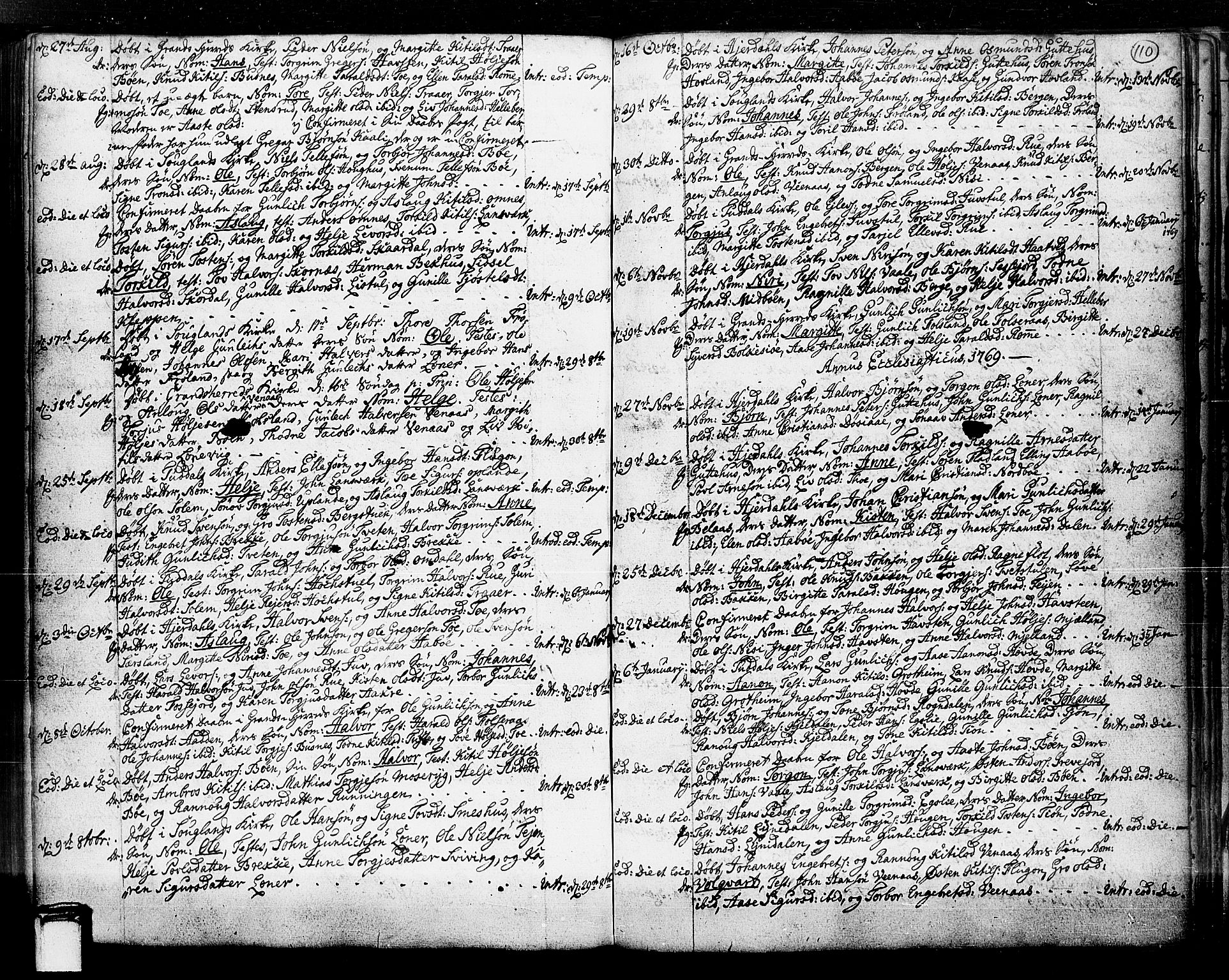 SAKO, Hjartdal kirkebøker, F/Fa/L0003: Ministerialbok nr. I 3, 1727-1775, s. 110