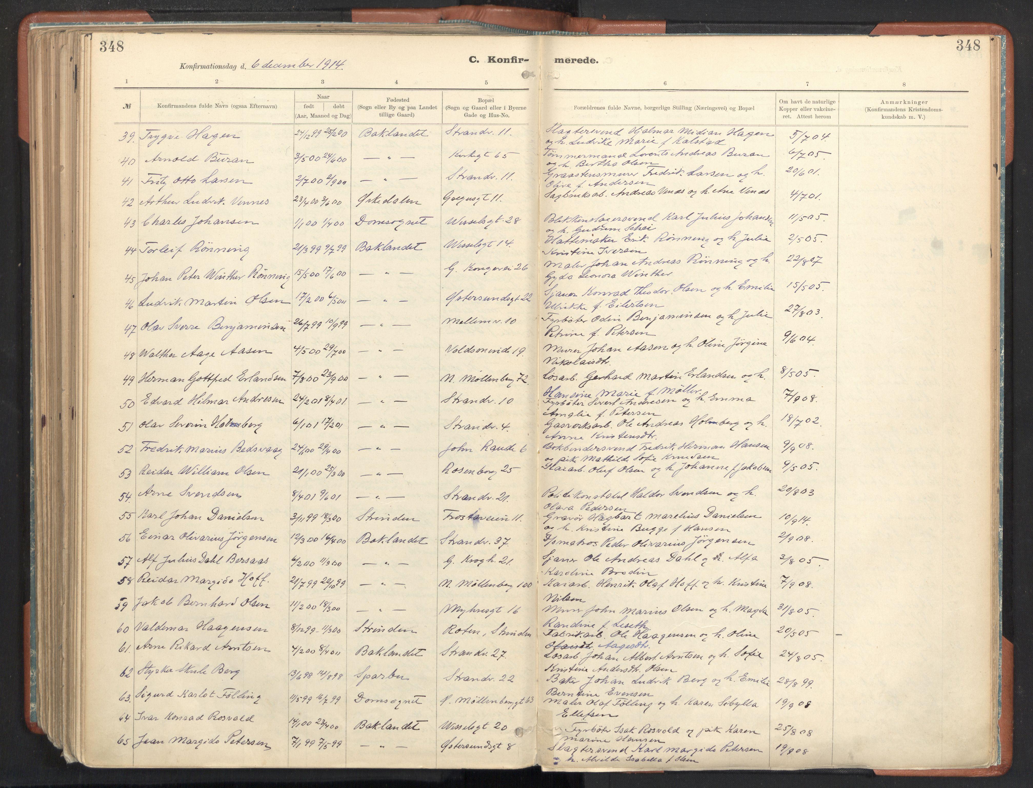 SAT, Ministerialprotokoller, klokkerbøker og fødselsregistre - Sør-Trøndelag, 605/L0243: Ministerialbok nr. 605A05, 1908-1923, s. 348