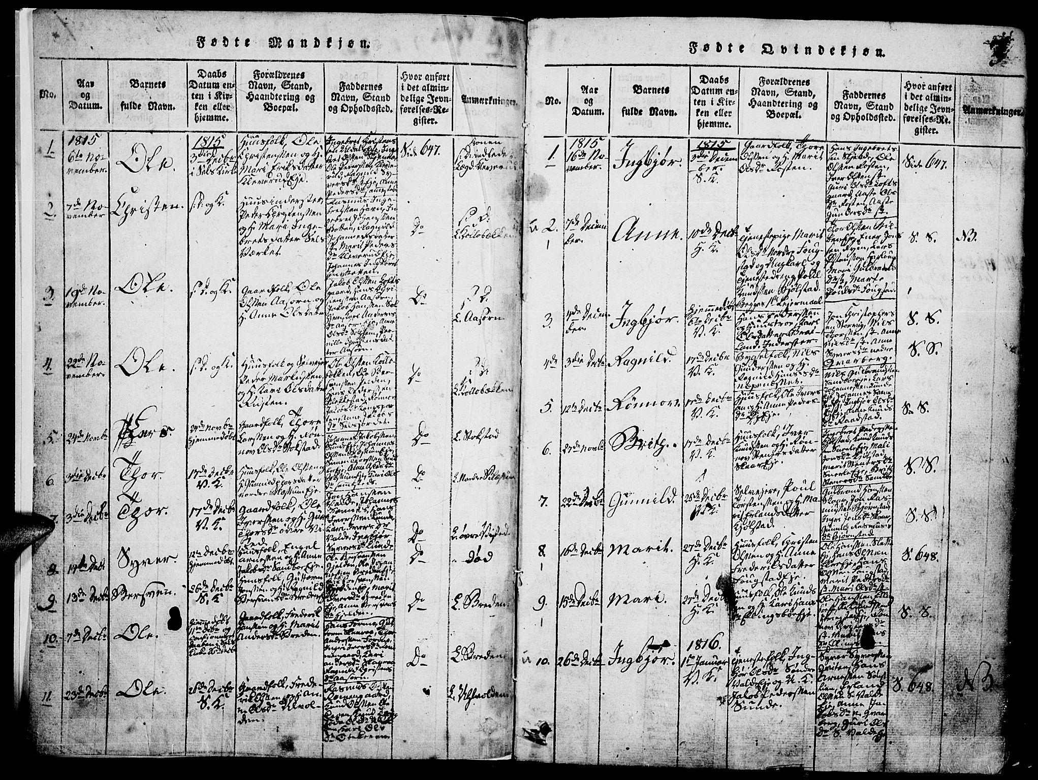SAH, Vågå prestekontor, Klokkerbok nr. 1, 1815-1827, s. 2-3
