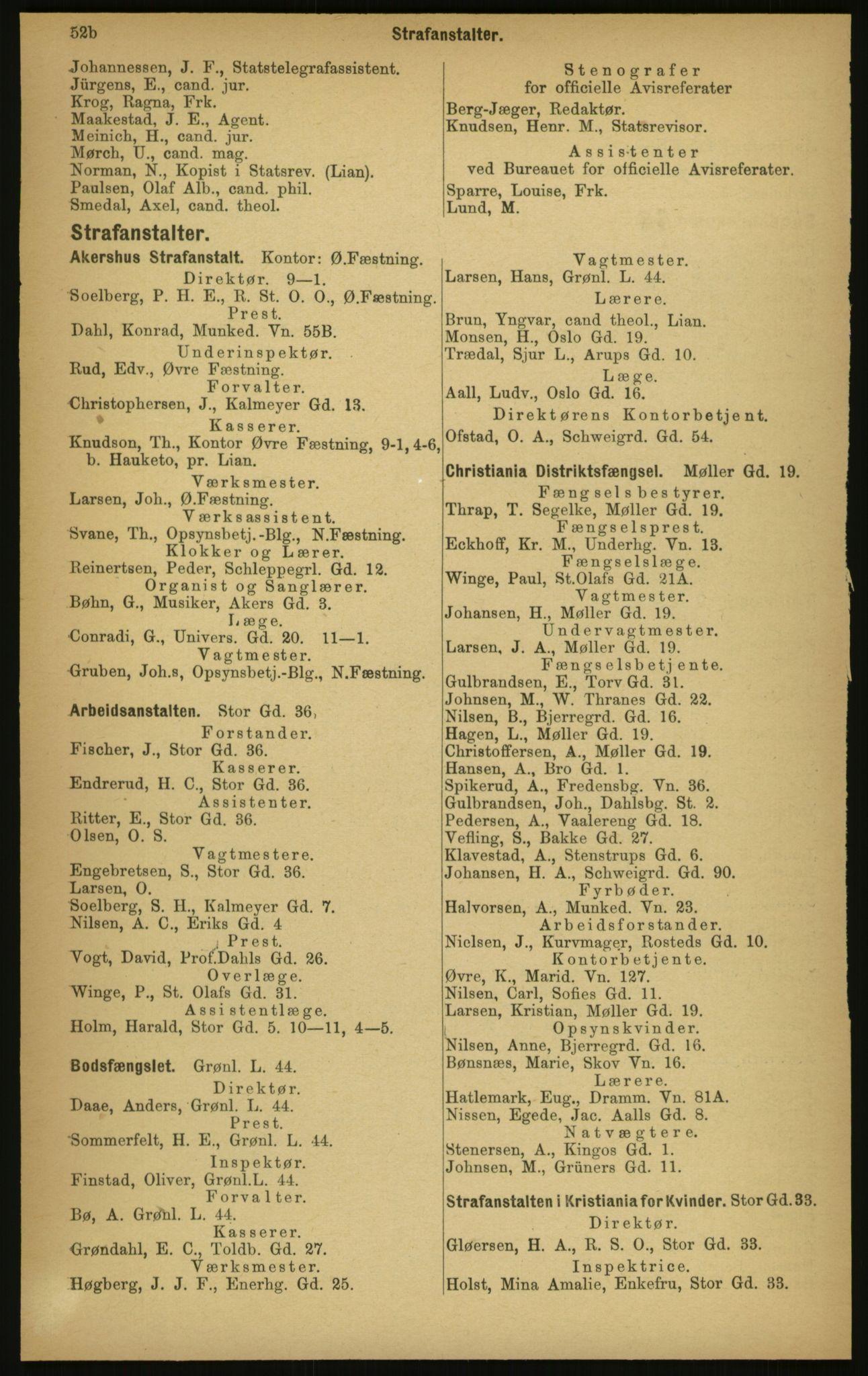 PUBL, Kristiania/Oslo adressebok, 1897, s. 54