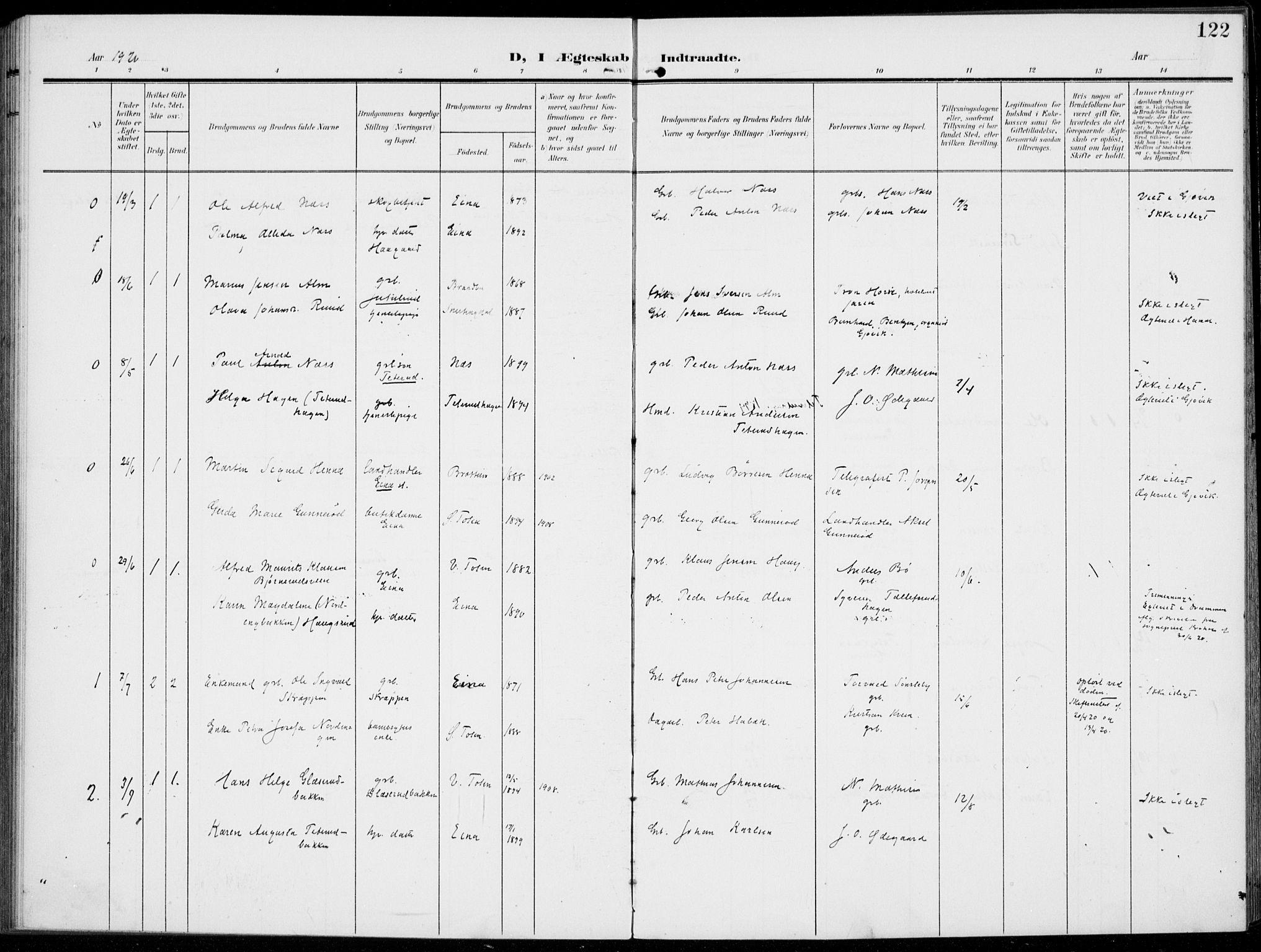 SAH, Kolbu prestekontor, Ministerialbok nr. 1, 1907-1923, s. 122