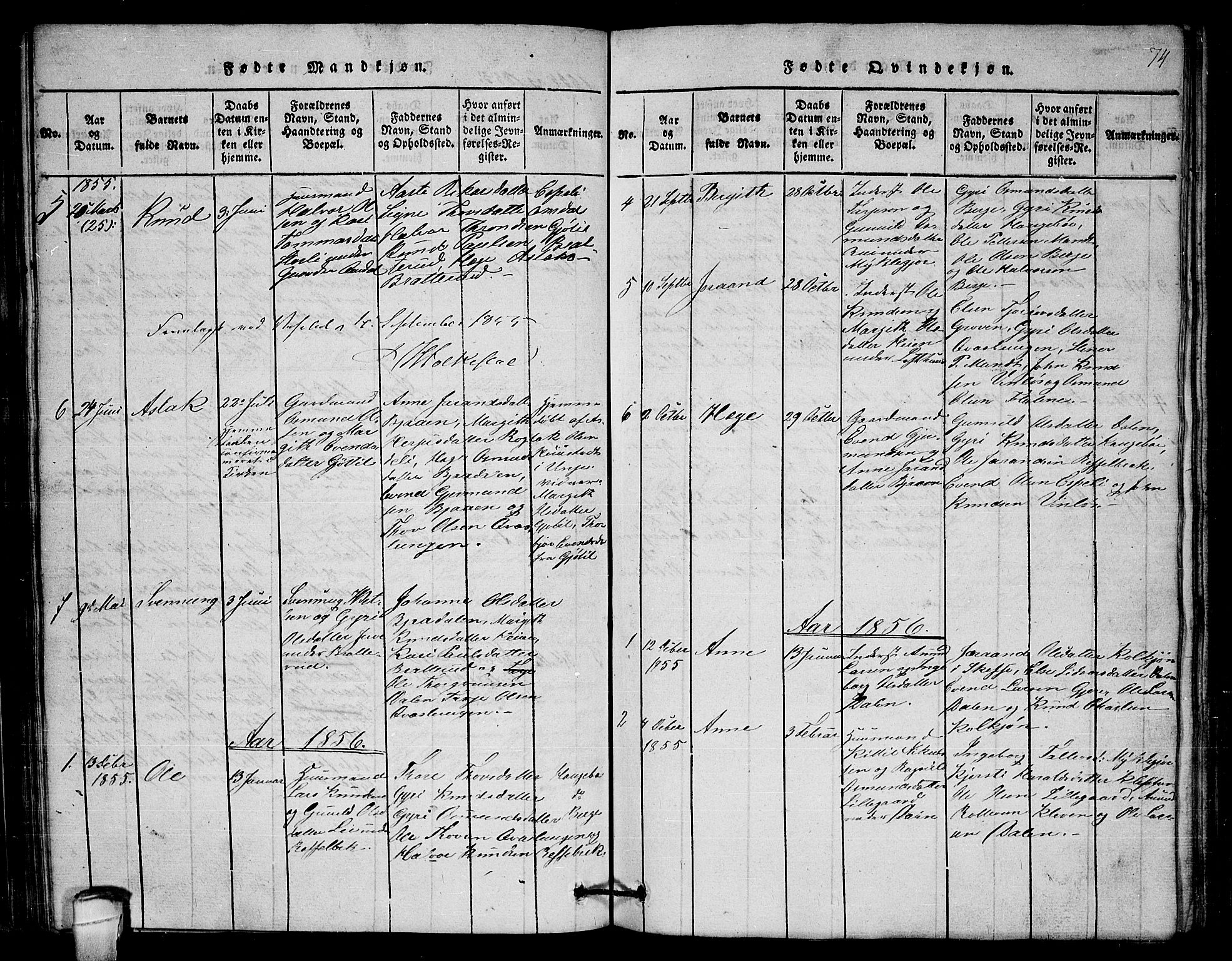 SAKO, Lårdal kirkebøker, G/Gb/L0001: Klokkerbok nr. II 1, 1815-1865, s. 74