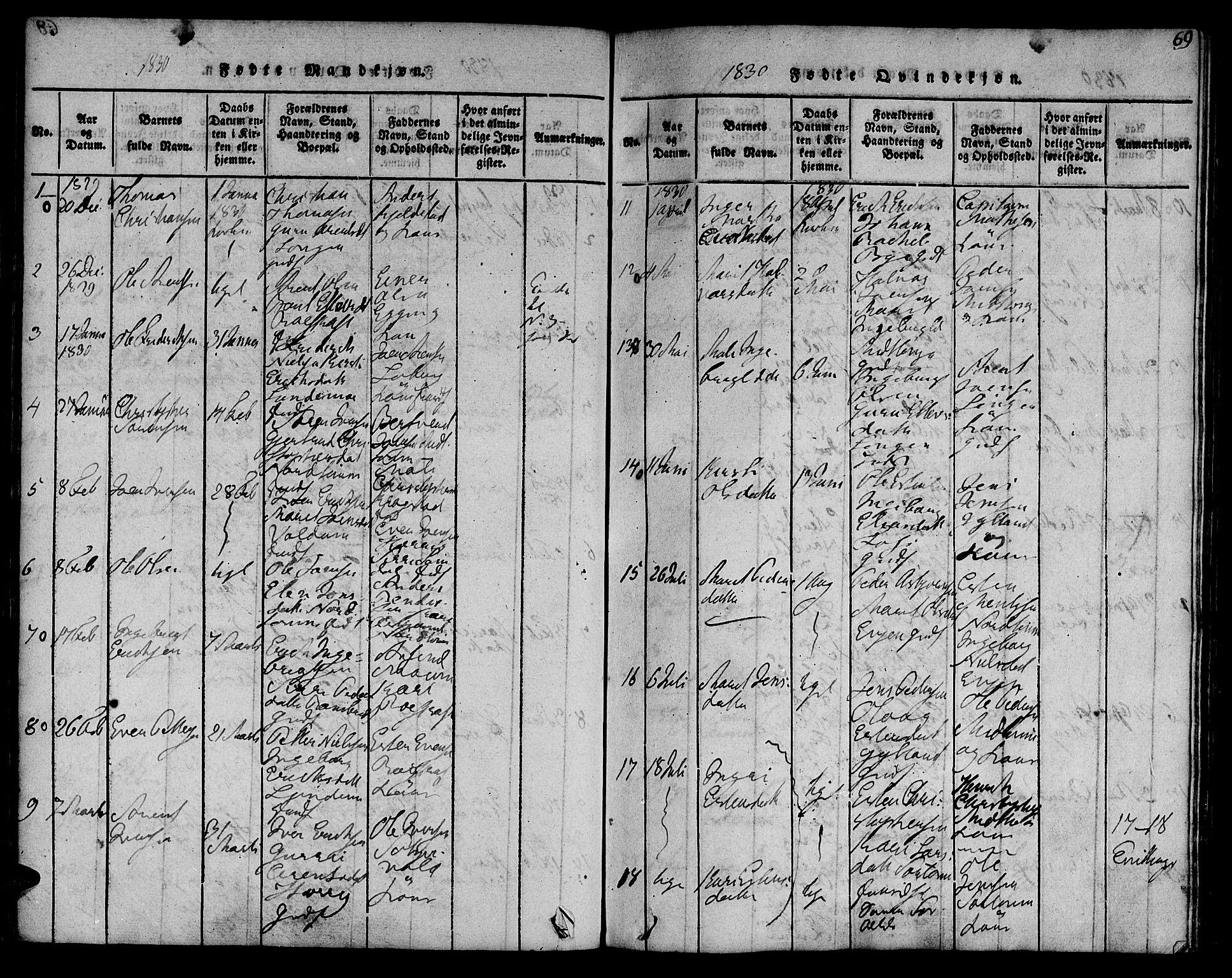 SAT, Ministerialprotokoller, klokkerbøker og fødselsregistre - Sør-Trøndelag, 692/L1102: Ministerialbok nr. 692A02, 1816-1842, s. 69