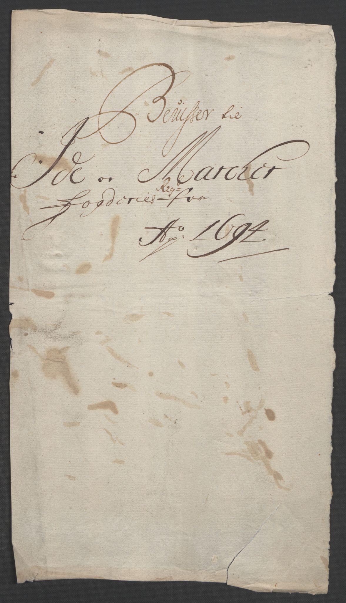 RA, Rentekammeret inntil 1814, Reviderte regnskaper, Fogderegnskap, R01/L0012: Fogderegnskap Idd og Marker, 1694-1695, s. 18