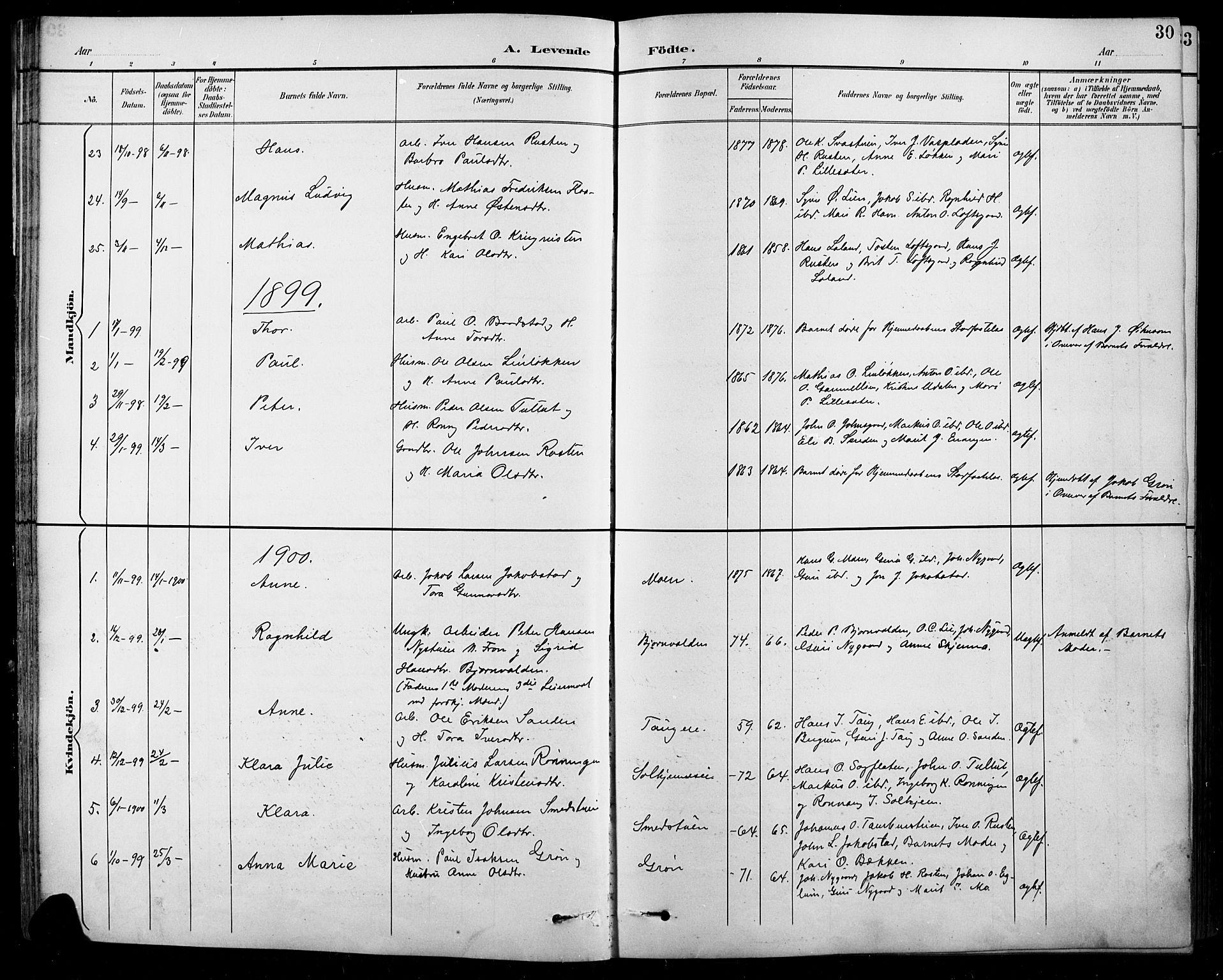 SAH, Sel prestekontor, Klokkerbok nr. 1, 1894-1923, s. 30