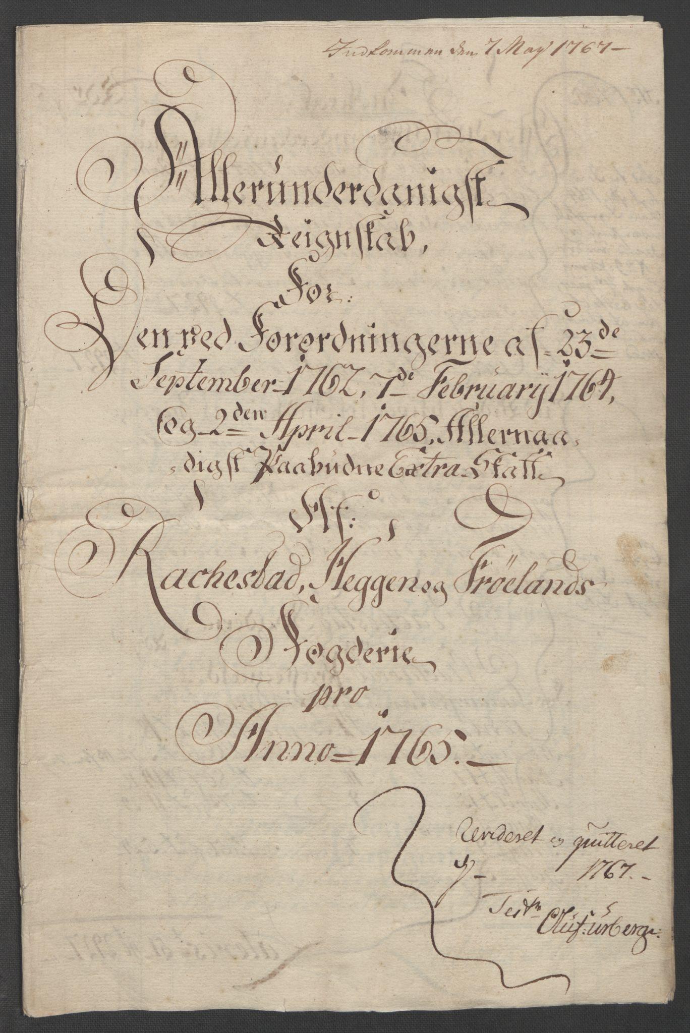 RA, Rentekammeret inntil 1814, Reviderte regnskaper, Fogderegnskap, R07/L0413: Ekstraskatten Rakkestad, Heggen og Frøland, 1762-1772, s. 269
