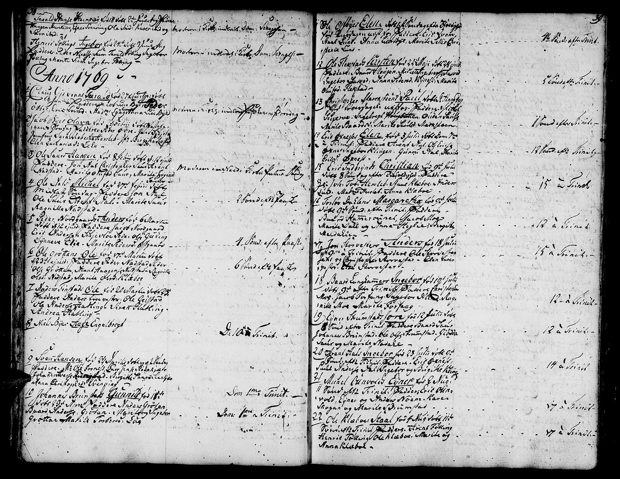 SAT, Ministerialprotokoller, klokkerbøker og fødselsregistre - Nord-Trøndelag, 746/L0440: Ministerialbok nr. 746A02, 1760-1815, s. 38-39