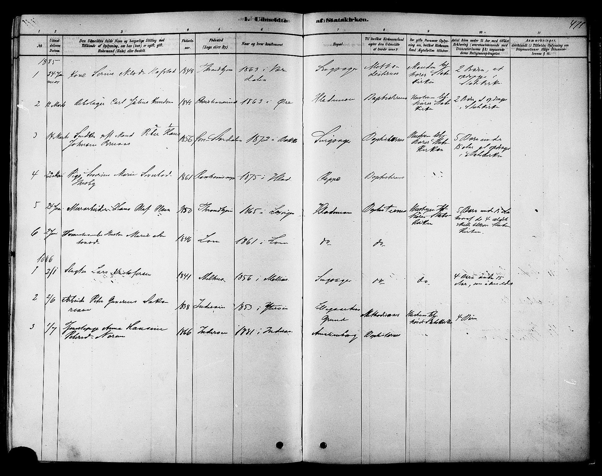 SAT, Ministerialprotokoller, klokkerbøker og fødselsregistre - Sør-Trøndelag, 606/L0294: Ministerialbok nr. 606A09, 1878-1886, s. 471