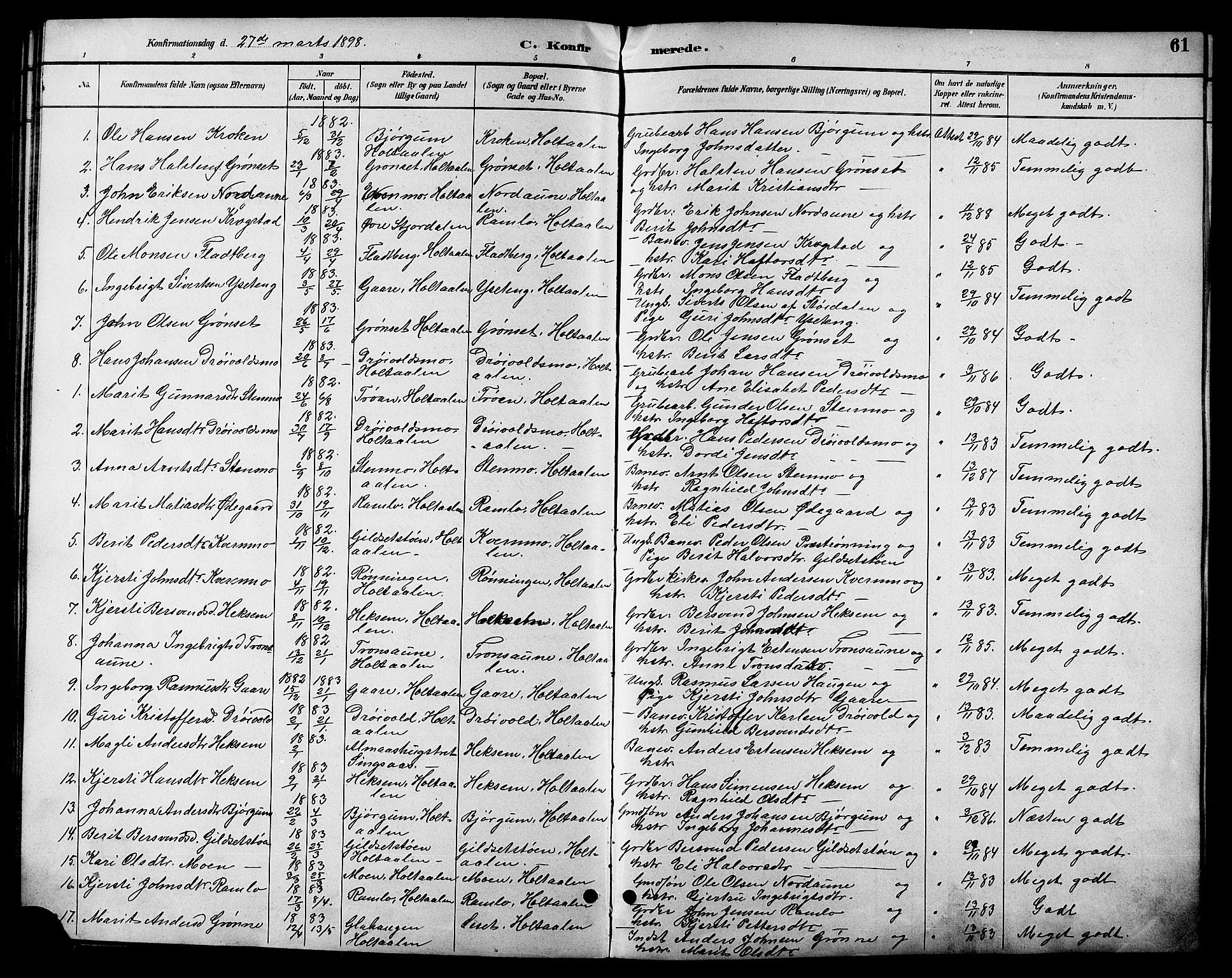 SAT, Ministerialprotokoller, klokkerbøker og fødselsregistre - Sør-Trøndelag, 685/L0978: Klokkerbok nr. 685C03, 1891-1907, s. 61