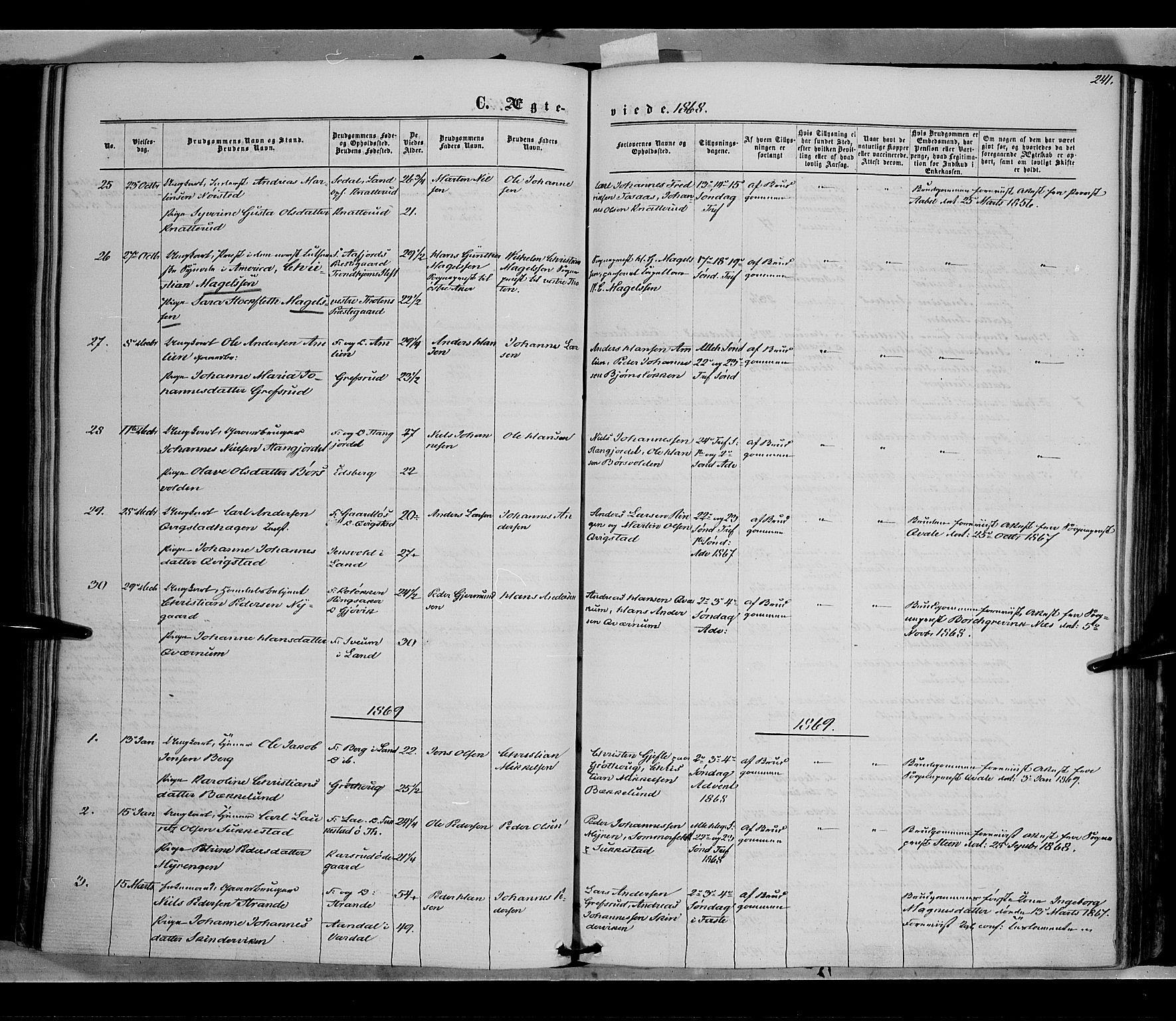 SAH, Vestre Toten prestekontor, H/Ha/Haa/L0007: Ministerialbok nr. 7, 1862-1869, s. 241