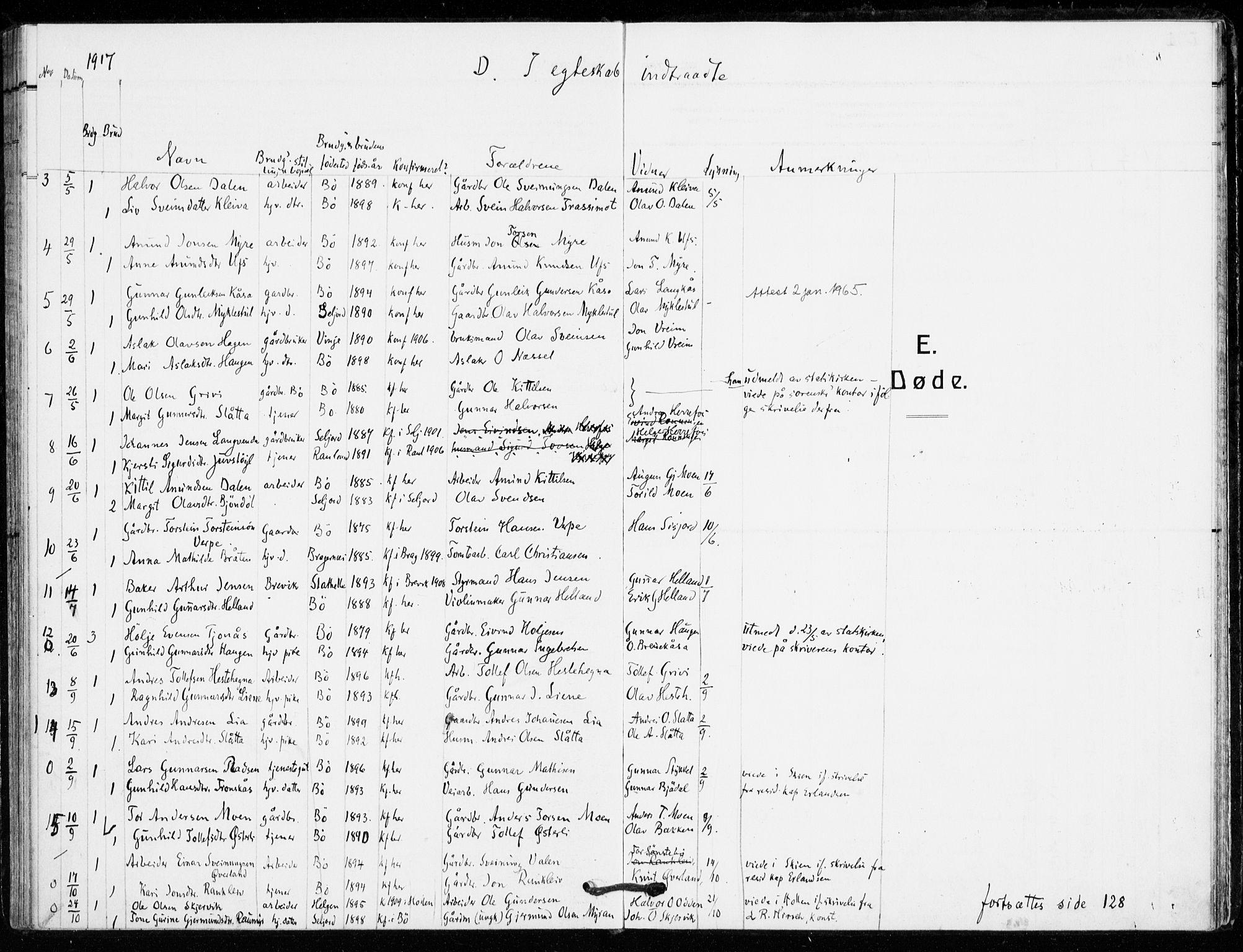 SAKO, Bø kirkebøker, F/Fa/L0013: Ministerialbok nr. 13, 1909-1921, s. 105