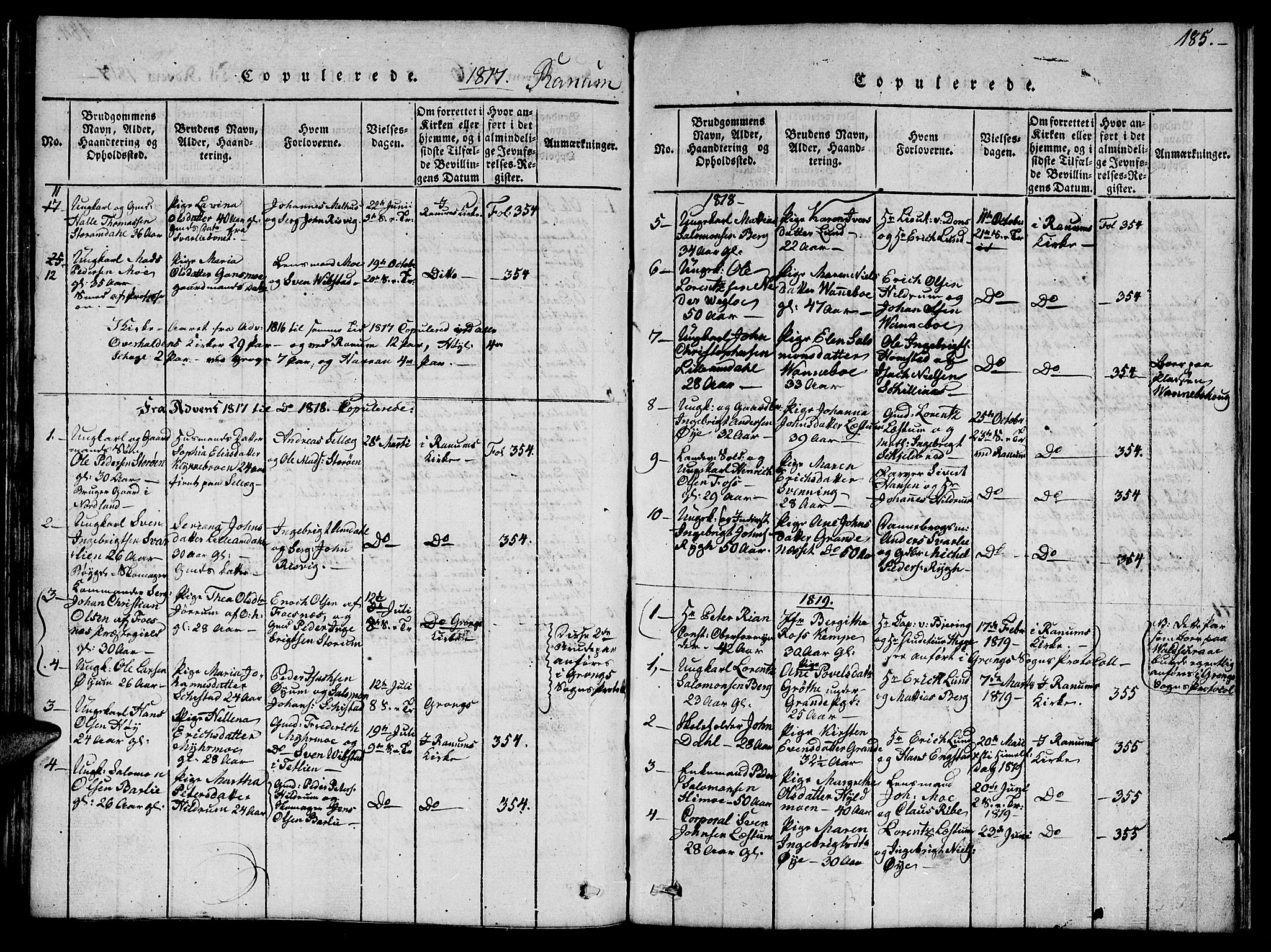 SAT, Ministerialprotokoller, klokkerbøker og fødselsregistre - Nord-Trøndelag, 764/L0559: Klokkerbok nr. 764C01, 1816-1824, s. 185