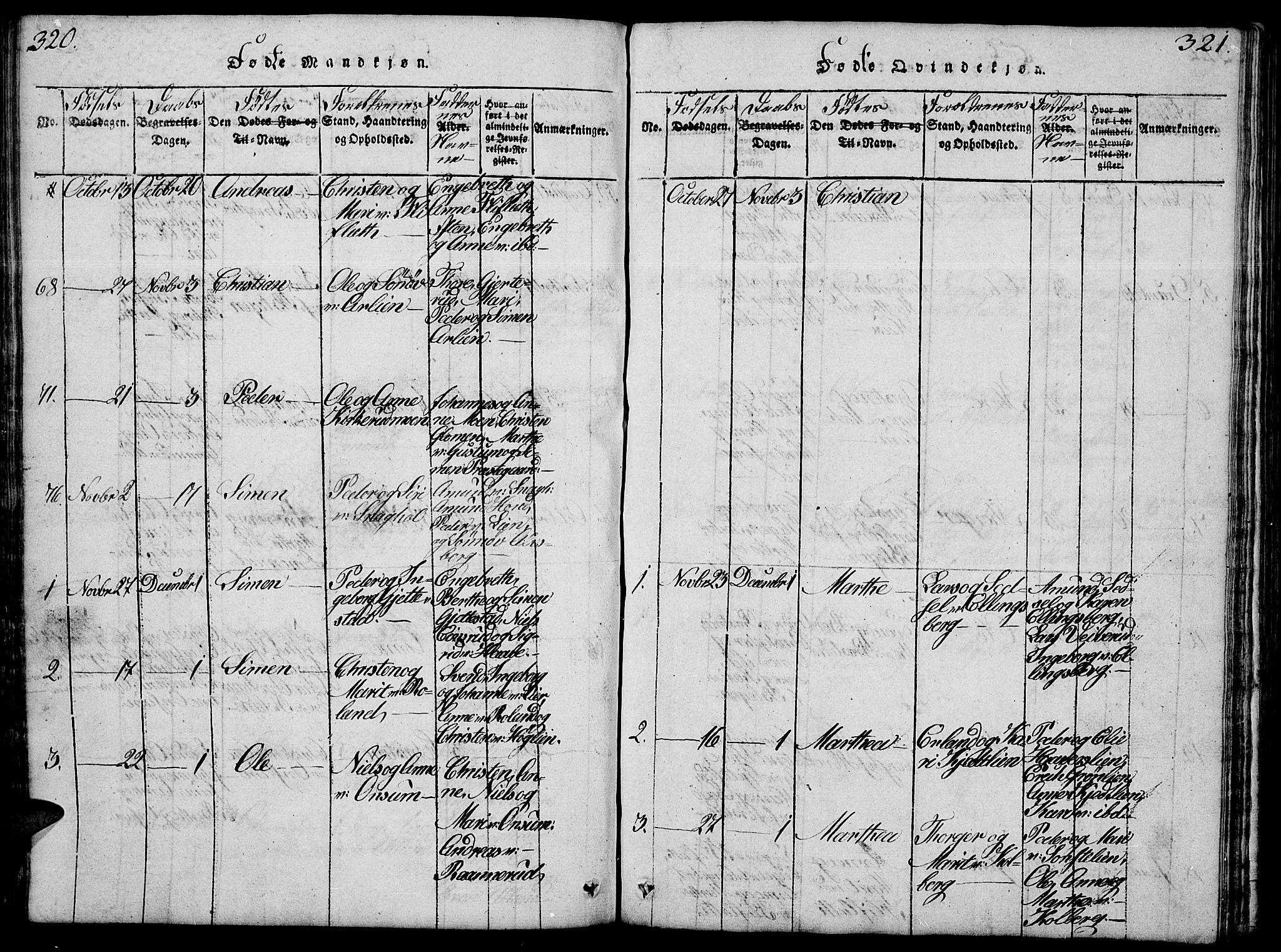 SAH, Fåberg prestekontor, Klokkerbok nr. 4, 1818-1837, s. 320-321