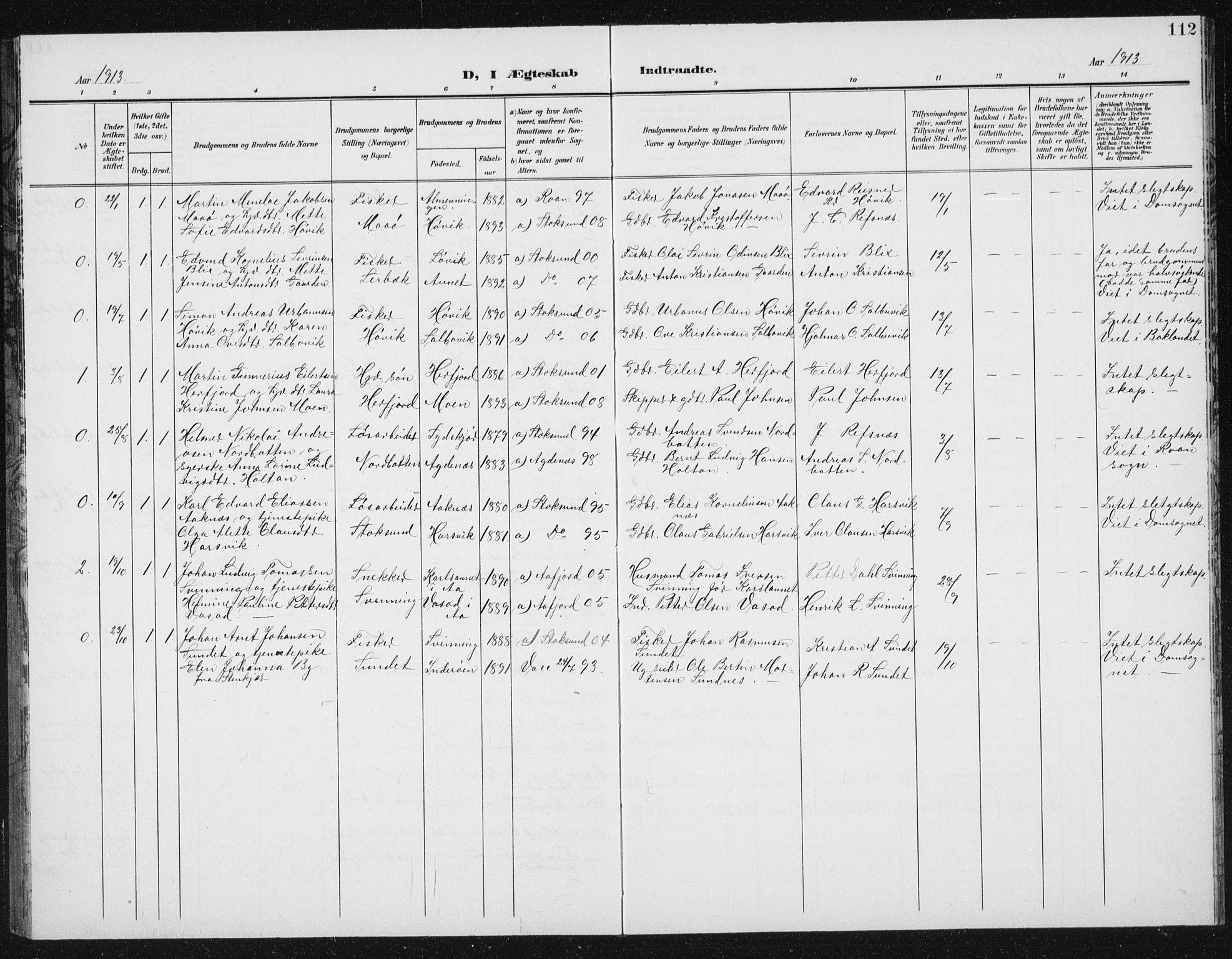 SAT, Ministerialprotokoller, klokkerbøker og fødselsregistre - Sør-Trøndelag, 656/L0699: Klokkerbok nr. 656C05, 1905-1920, s. 112