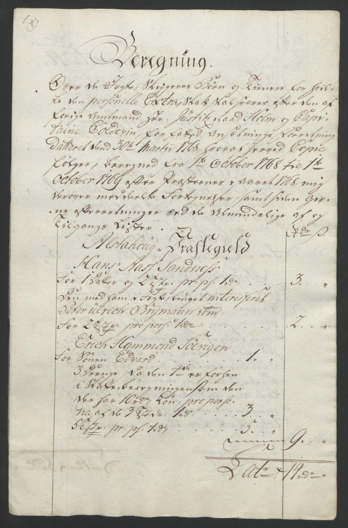 RA, Rentekammeret inntil 1814, Reviderte regnskaper, Fogderegnskap, R65/L4573: Ekstraskatten Helgeland, 1762-1772, s. 375
