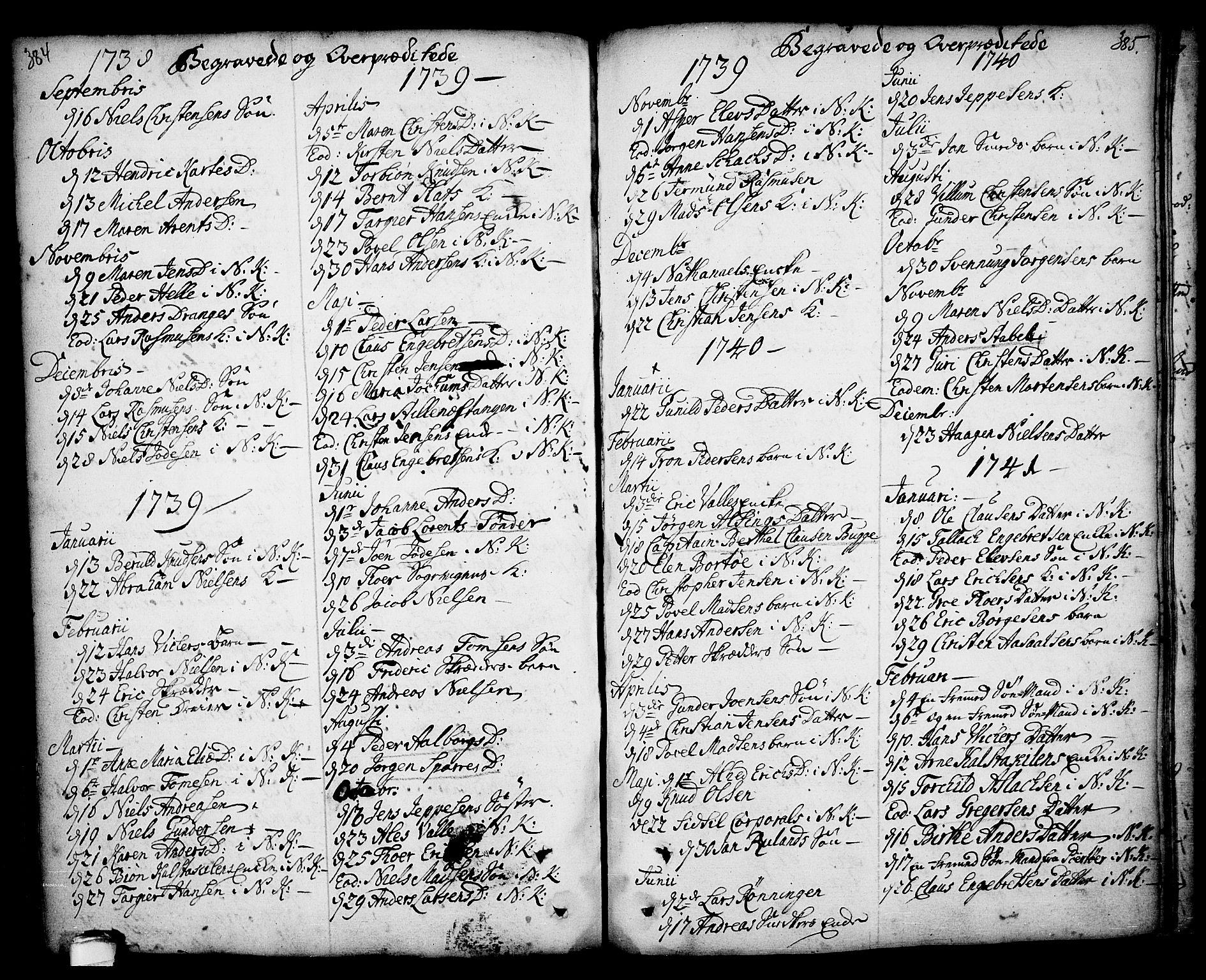 SAKO, Kragerø kirkebøker, F/Fa/L0001: Ministerialbok nr. 1, 1702-1766, s. 384-385