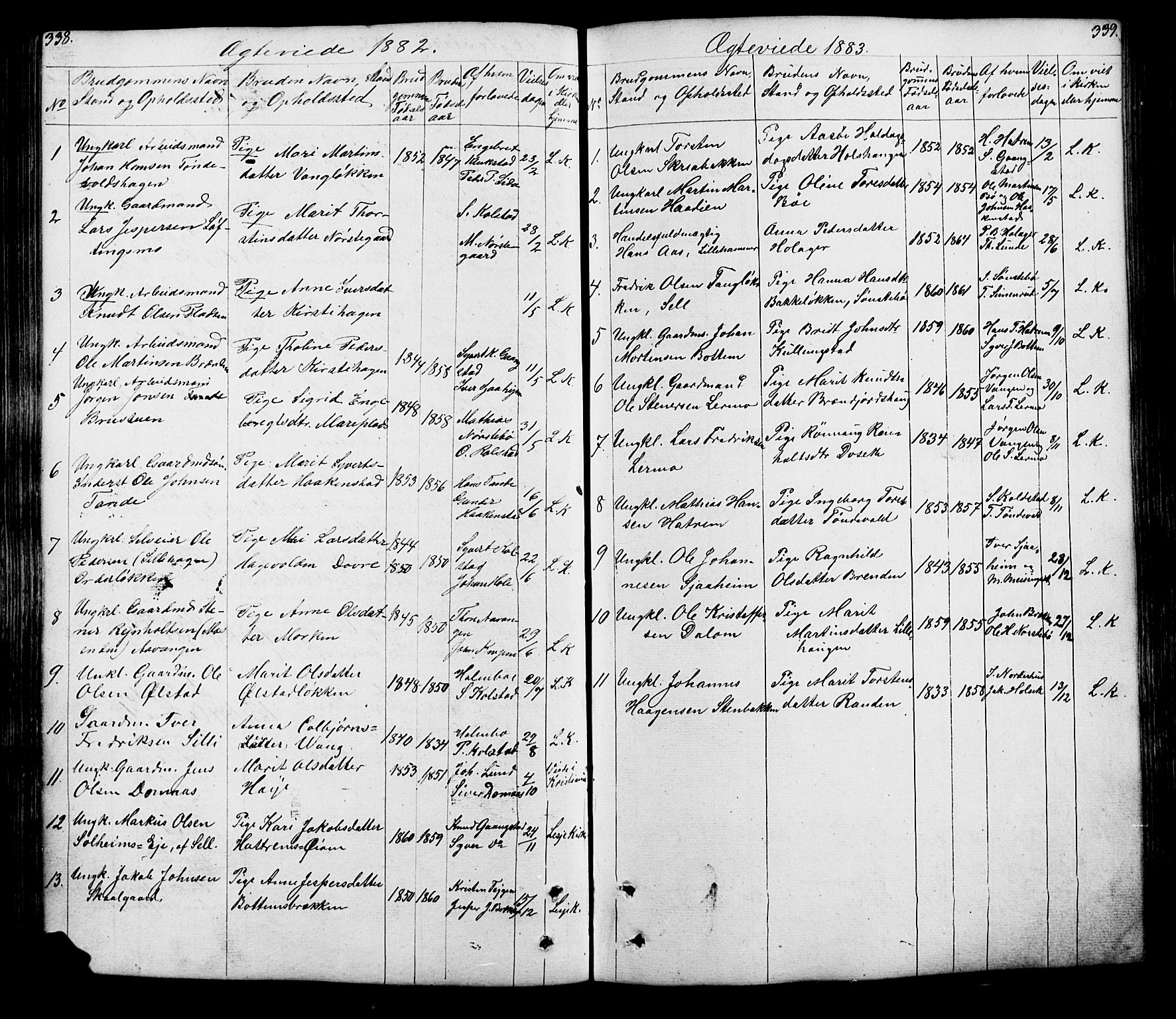 SAH, Lesja prestekontor, Klokkerbok nr. 5, 1850-1894, s. 338-339