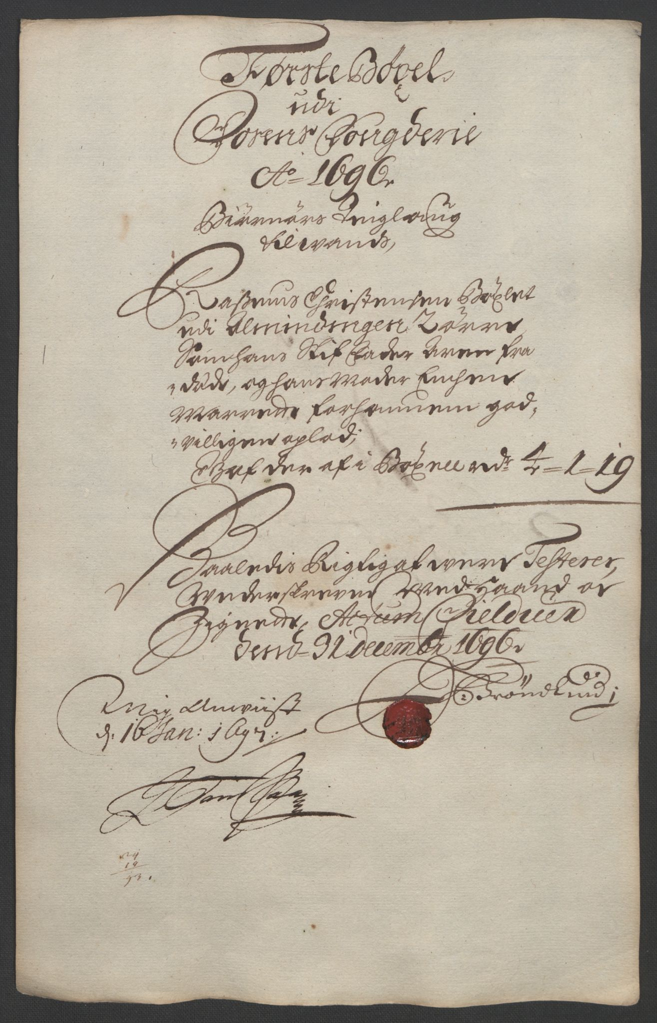RA, Rentekammeret inntil 1814, Reviderte regnskaper, Fogderegnskap, R57/L3851: Fogderegnskap Fosen, 1695-1696, s. 280