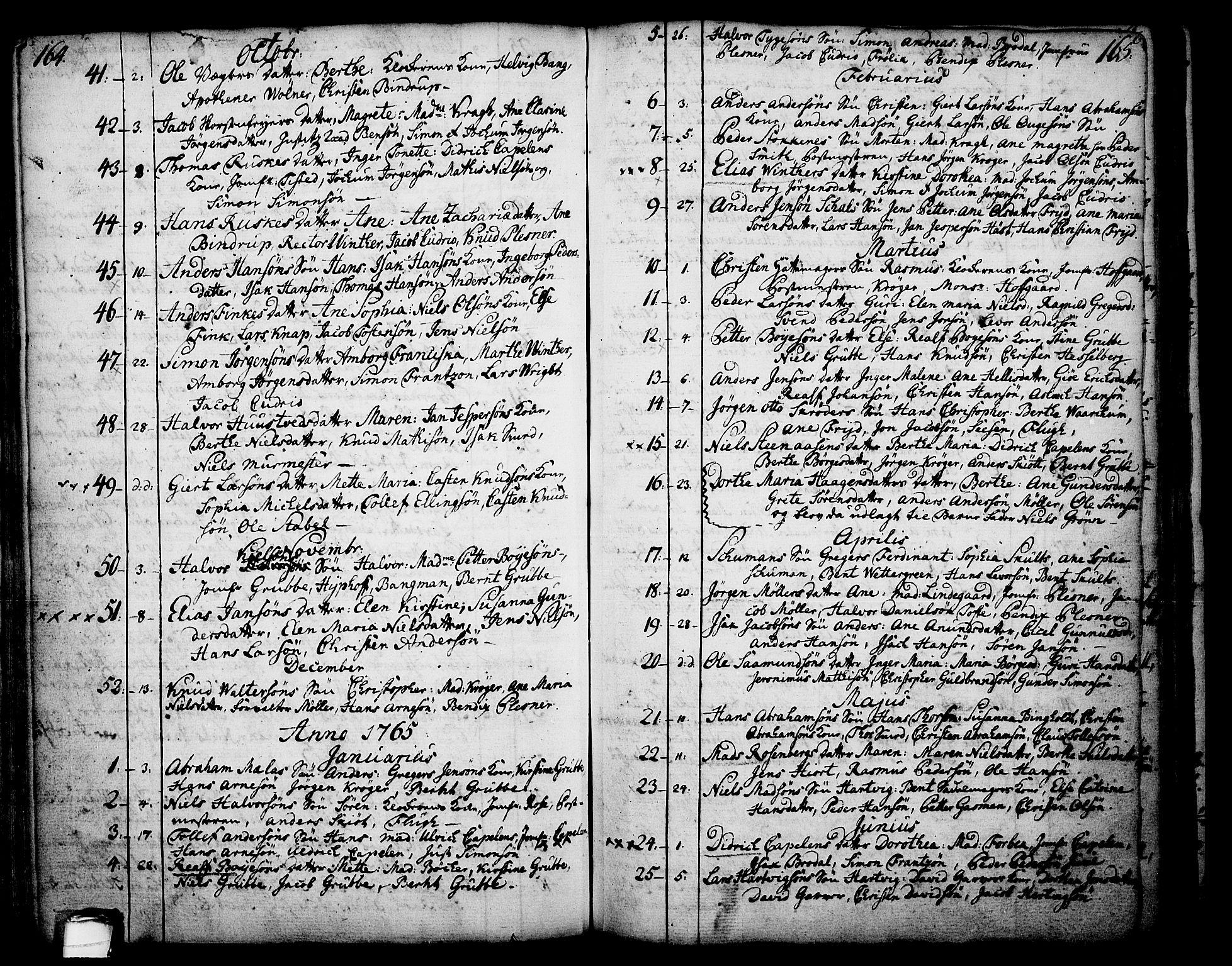 SAKO, Skien kirkebøker, F/Fa/L0003: Ministerialbok nr. 3, 1755-1791, s. 164-165