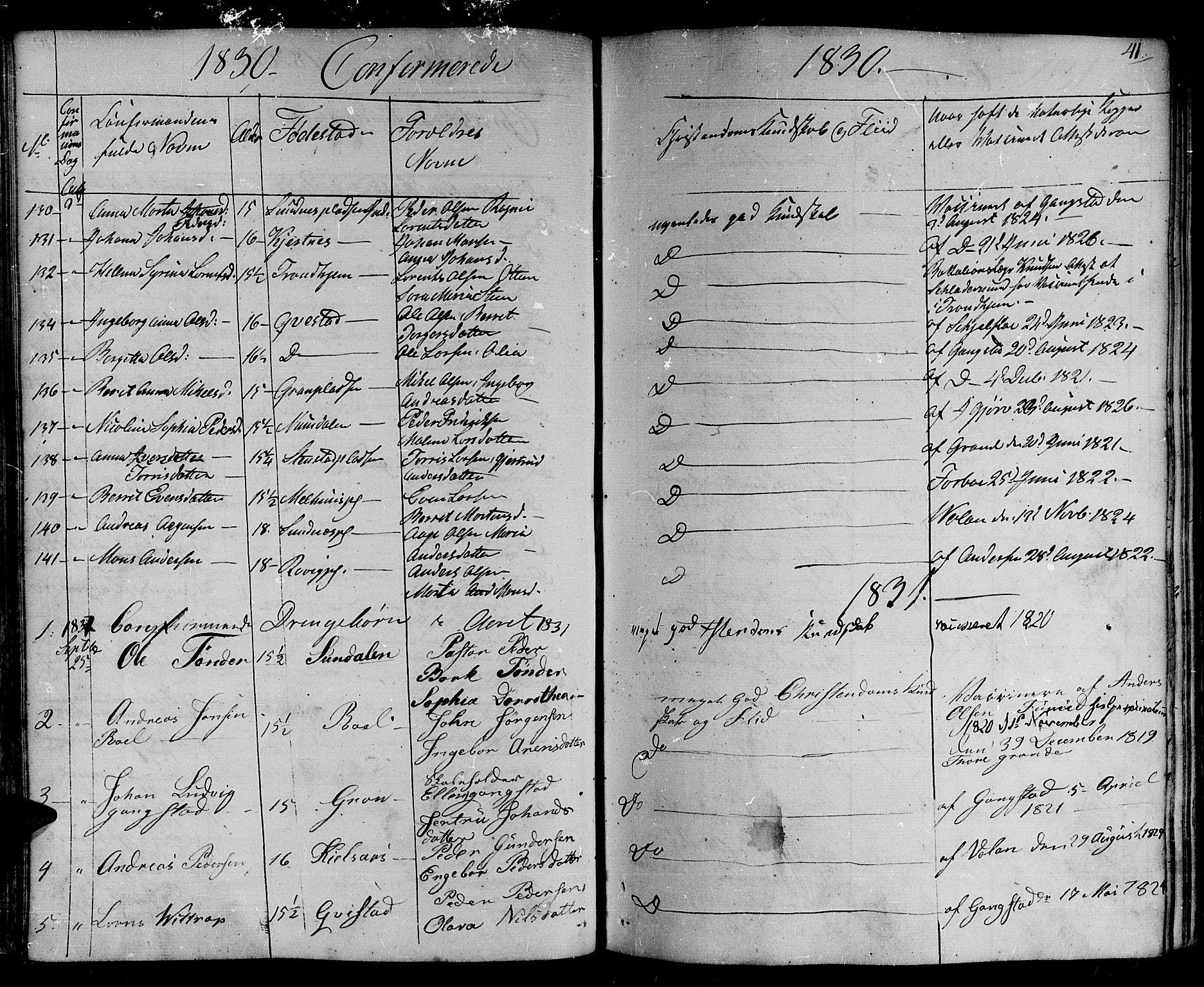 SAT, Ministerialprotokoller, klokkerbøker og fødselsregistre - Nord-Trøndelag, 730/L0277: Ministerialbok nr. 730A06 /1, 1830-1839, s. 41