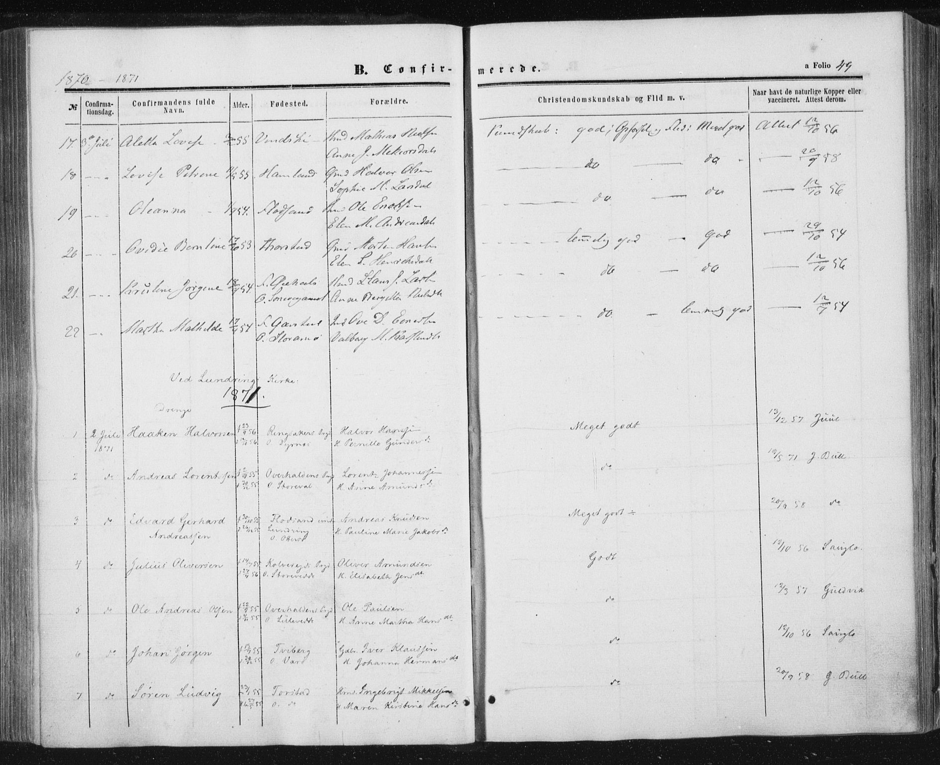 SAT, Ministerialprotokoller, klokkerbøker og fødselsregistre - Nord-Trøndelag, 784/L0670: Ministerialbok nr. 784A05, 1860-1876, s. 49