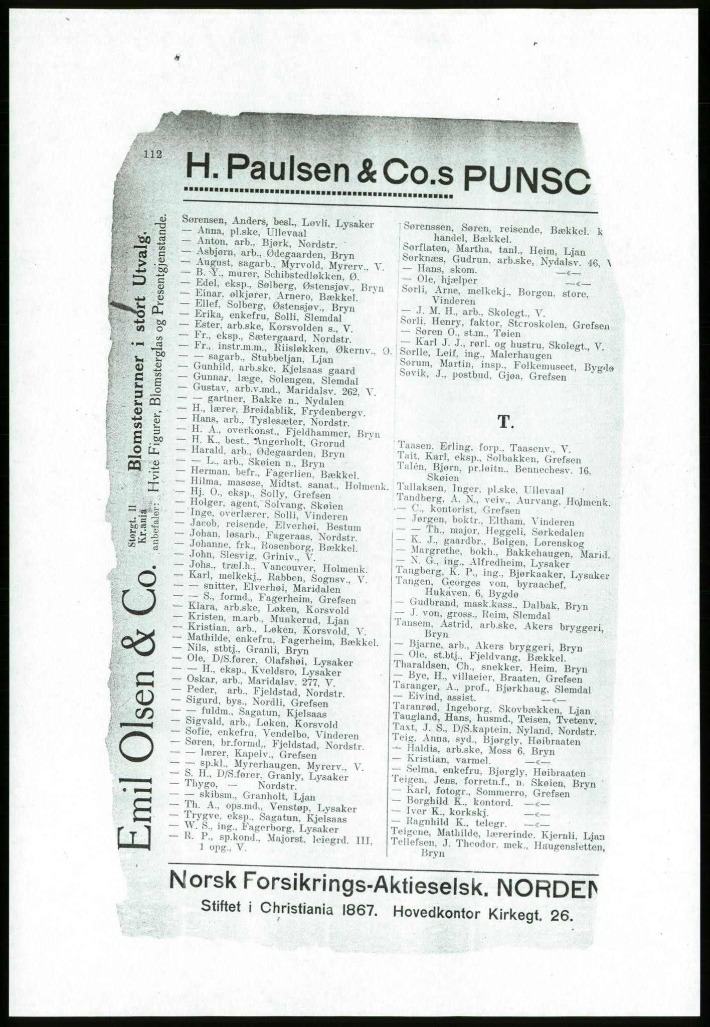 RA, Aker adressebok/adressekalender (publikasjon)*, 1916-1917, s. 112