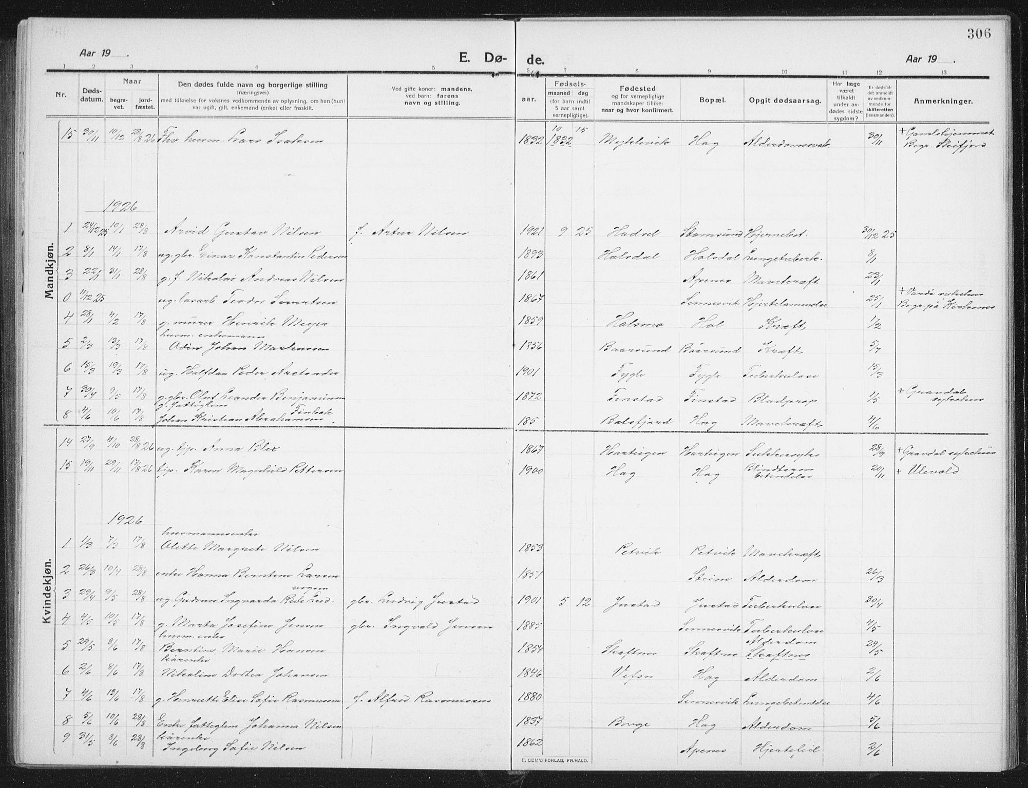 SAT, Ministerialprotokoller, klokkerbøker og fødselsregistre - Nordland, 882/L1183: Klokkerbok nr. 882C01, 1911-1938, s. 306