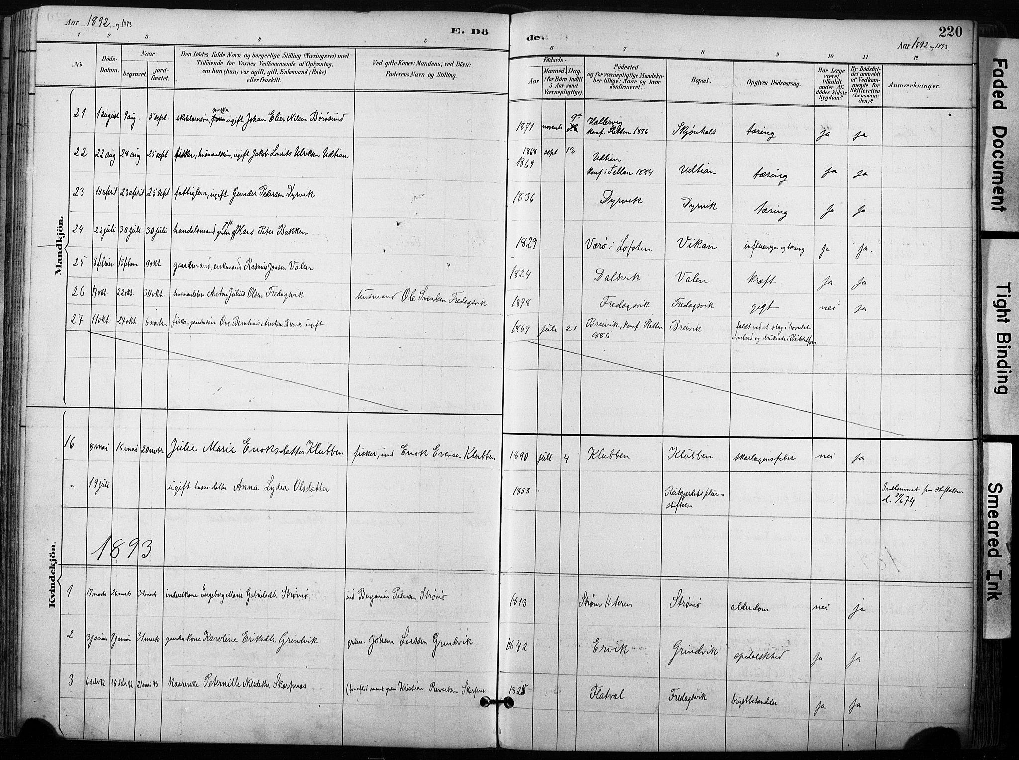 SAT, Ministerialprotokoller, klokkerbøker og fødselsregistre - Sør-Trøndelag, 640/L0579: Ministerialbok nr. 640A04, 1889-1902, s. 220
