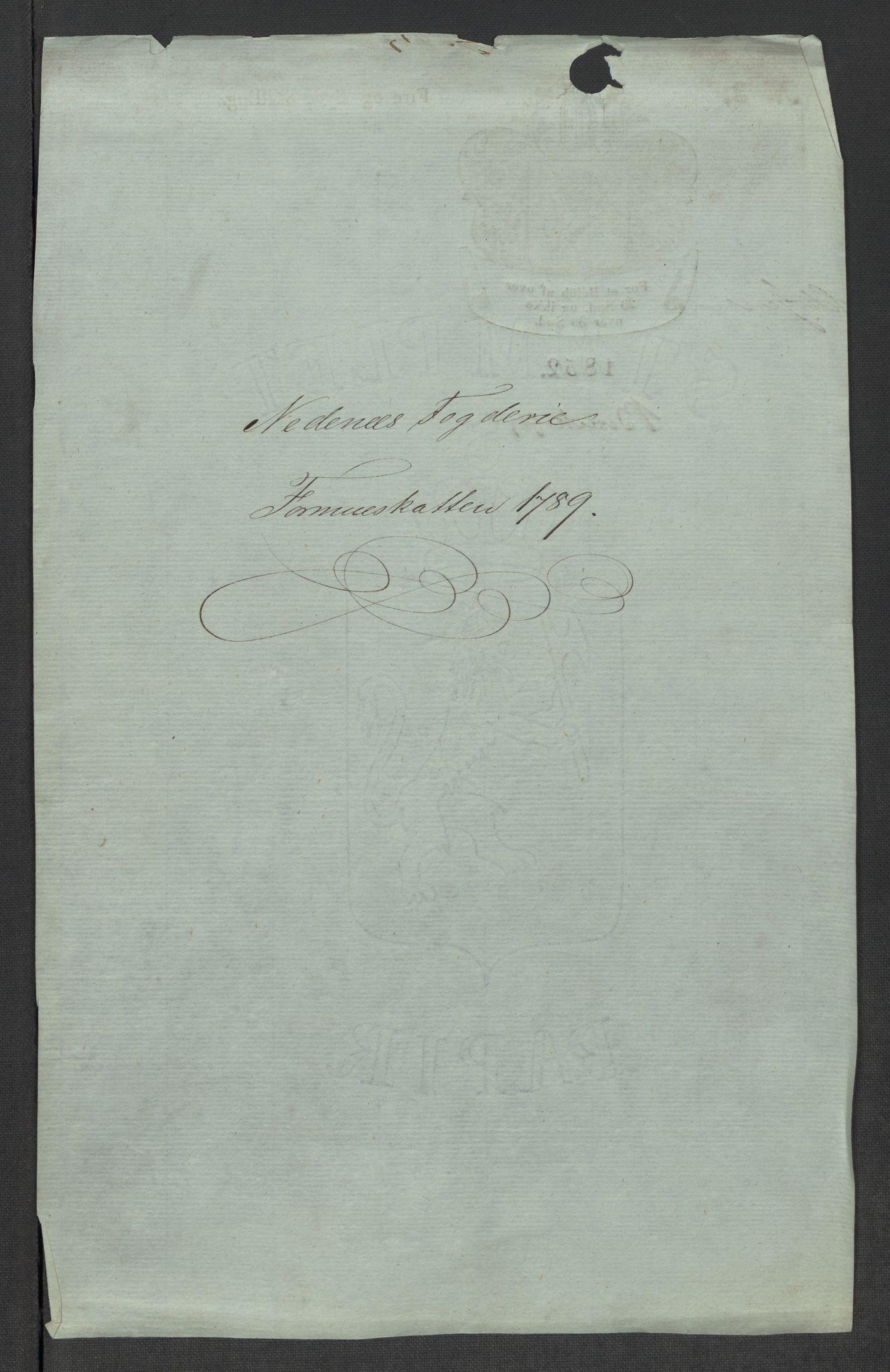 RA, Rentekammeret inntil 1814, Reviderte regnskaper, Mindre regnskaper, Rf/Rfe/L0027: Nedenes fogderi, Nedre Romerike fogderi, 1789, s. 3