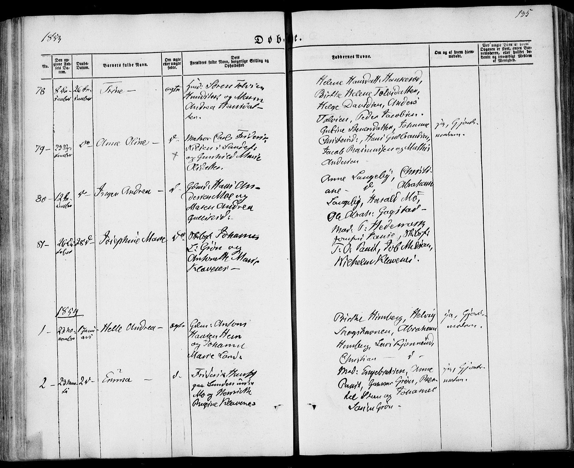 SAKO, Sandar kirkebøker, F/Fa/L0006: Ministerialbok nr. 6, 1847-1860, s. 135