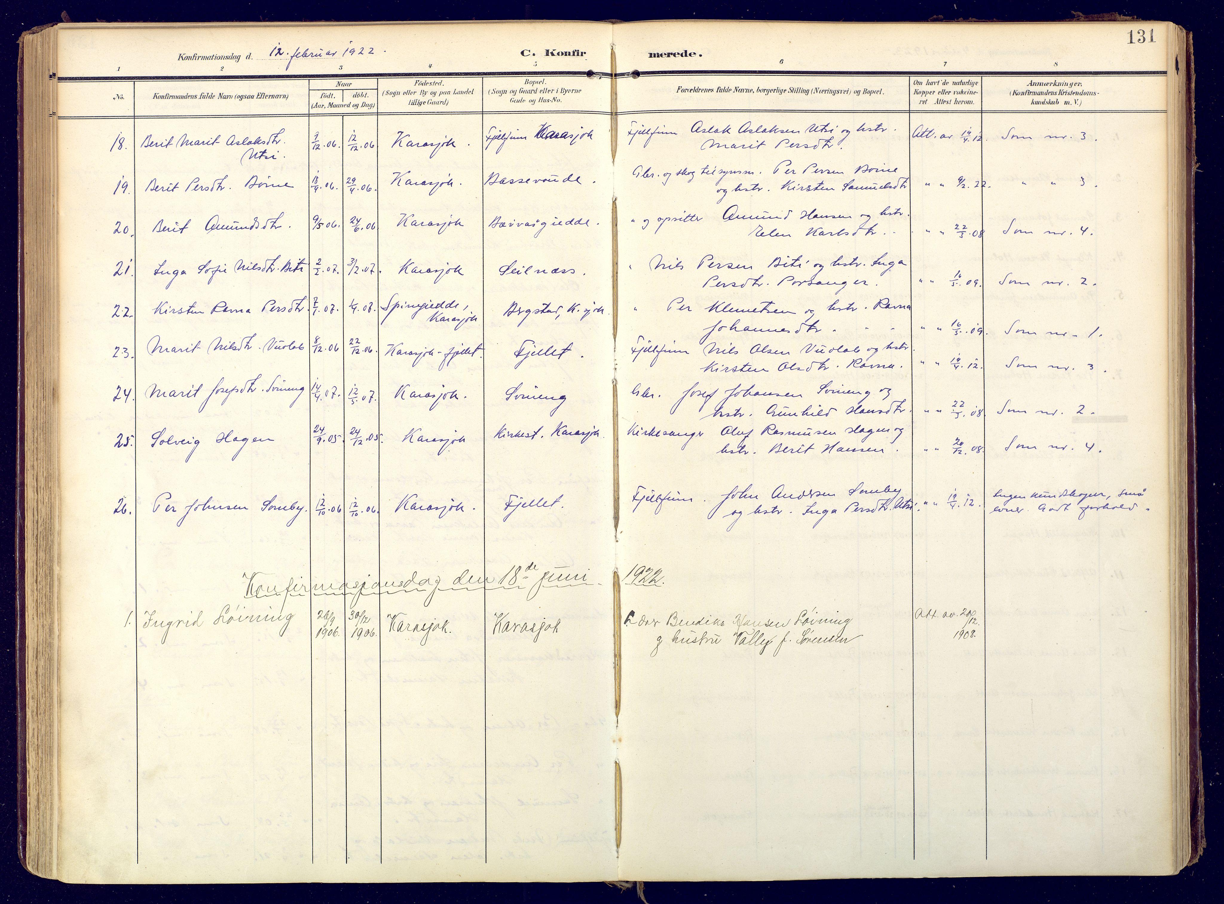 SATØ, Karasjok sokneprestkontor, H/Ha: Ministerialbok nr. 3, 1907-1926, s. 131