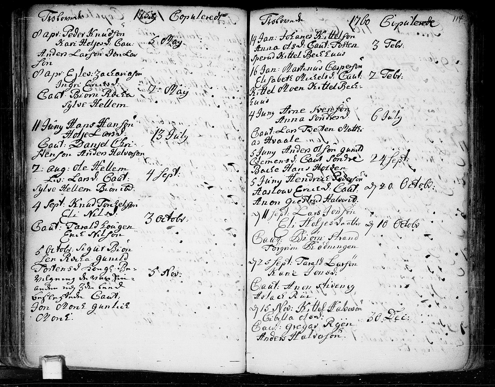 SAKO, Heddal kirkebøker, F/Fa/L0003: Ministerialbok nr. I 3, 1723-1783, s. 114